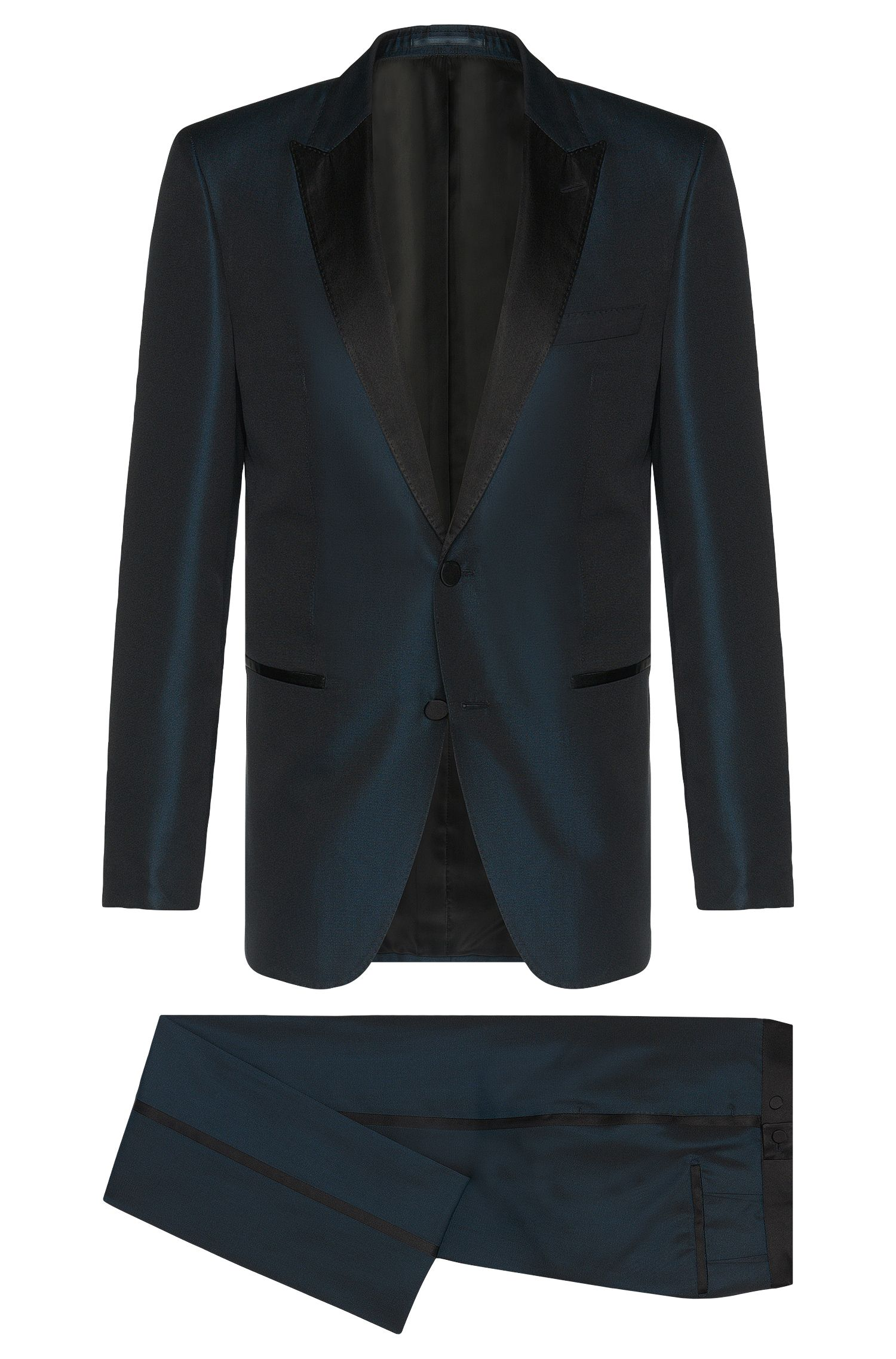 Slim-fit Tailored suit in pure silk with dress-suit detailing: 'T-Hampton/Glad'