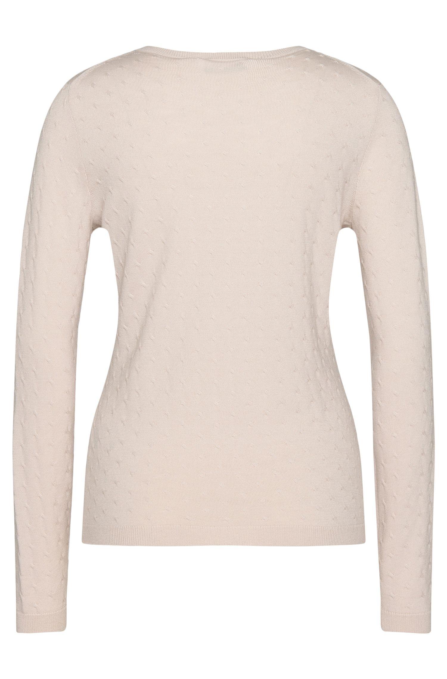 Pullover aus Schurwolle mit Zopfstrick-Muster: 'Faunia'