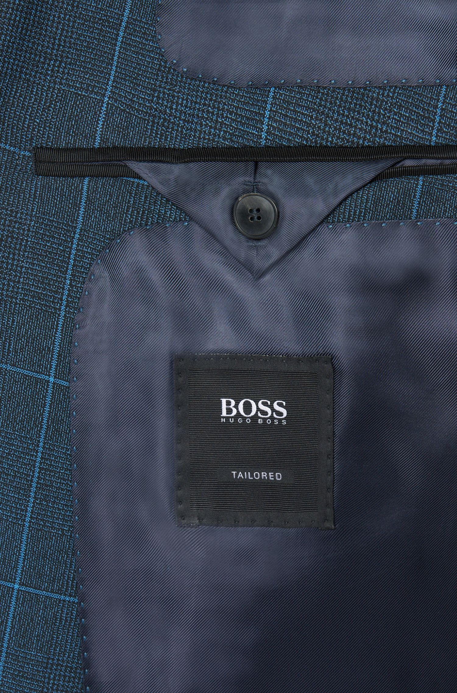 Costume Extra Slim Fit Tailored à carreaux en laine vierge mélangée à teneur en mohair: «T-Reeve1/Wain»
