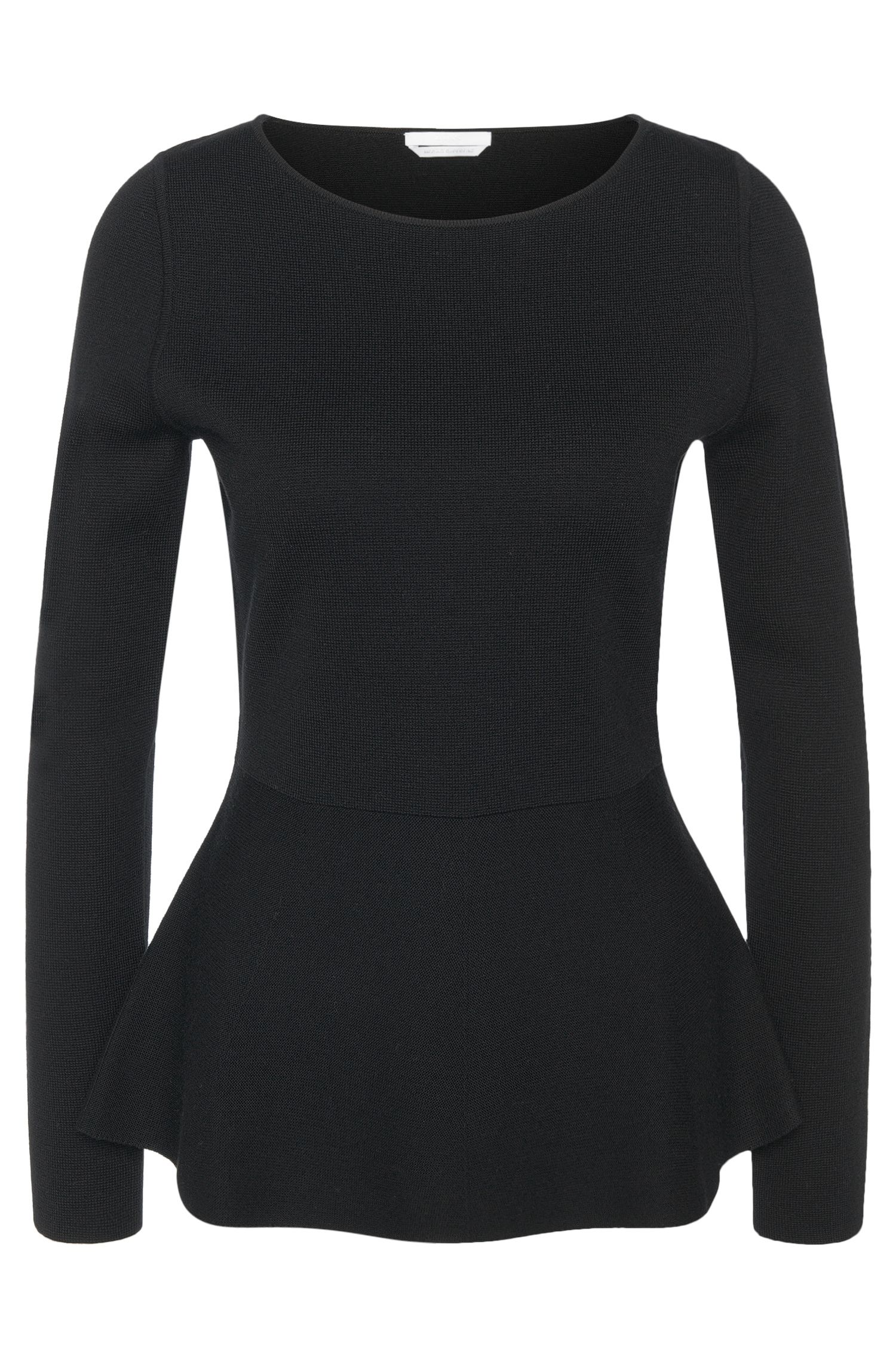 Sweater in new wool with peplum detail: 'Finola'