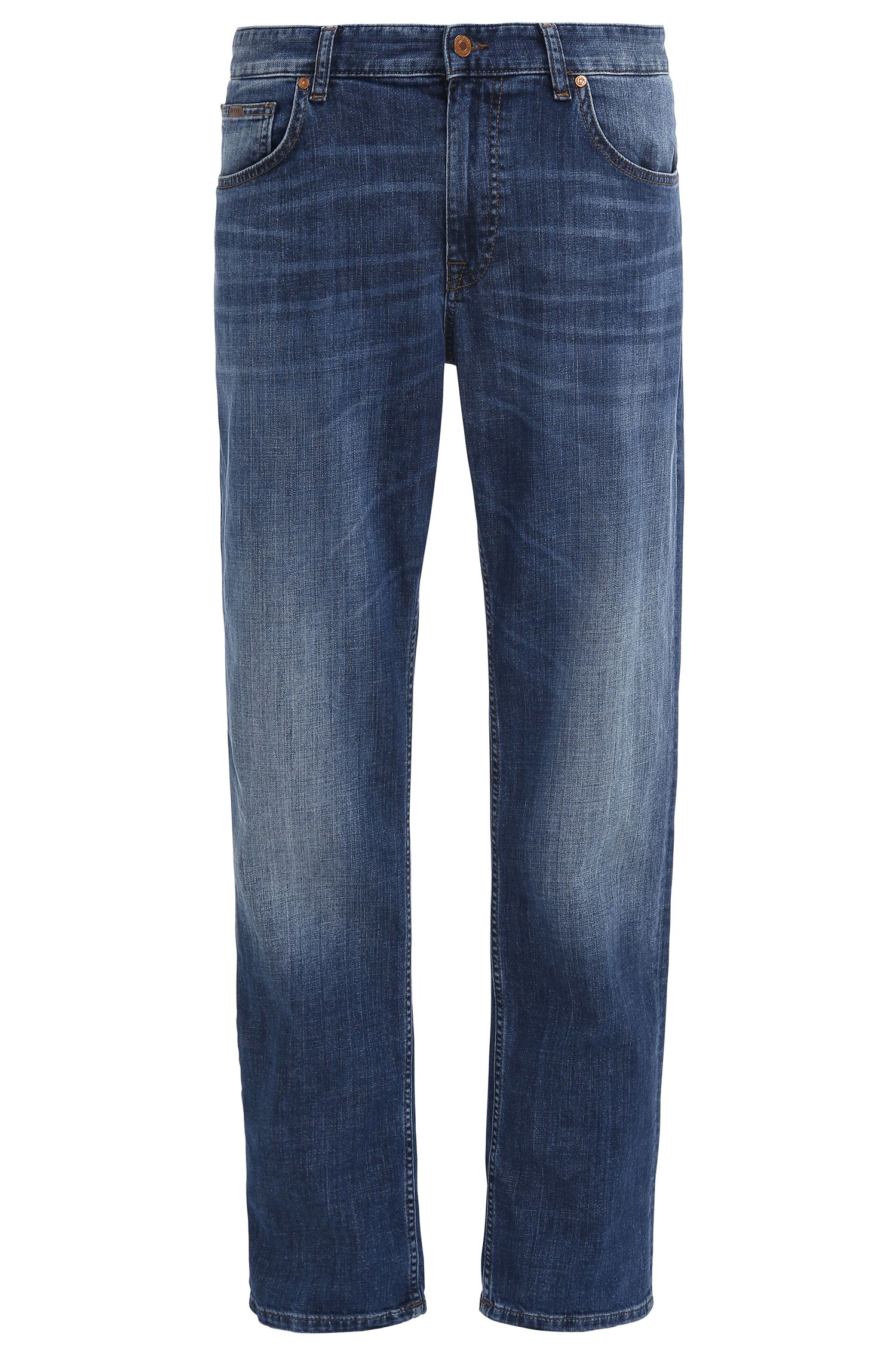 Big&Tall Regular-Fit Jeans aus Stretch-Baumwolle im Used-Look: ´C-B4`