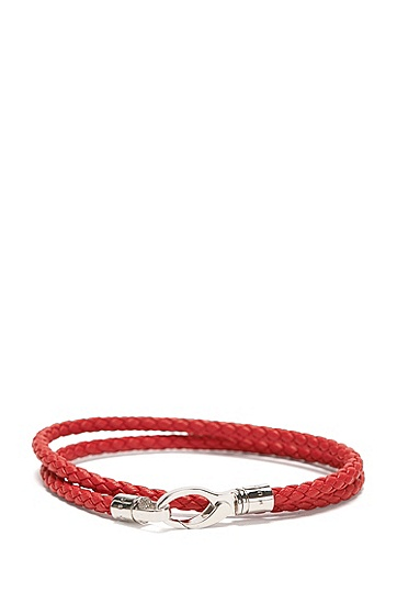 Wickel-Armband aus Leder in Flecht-Optik: 'Benjamin', Rot