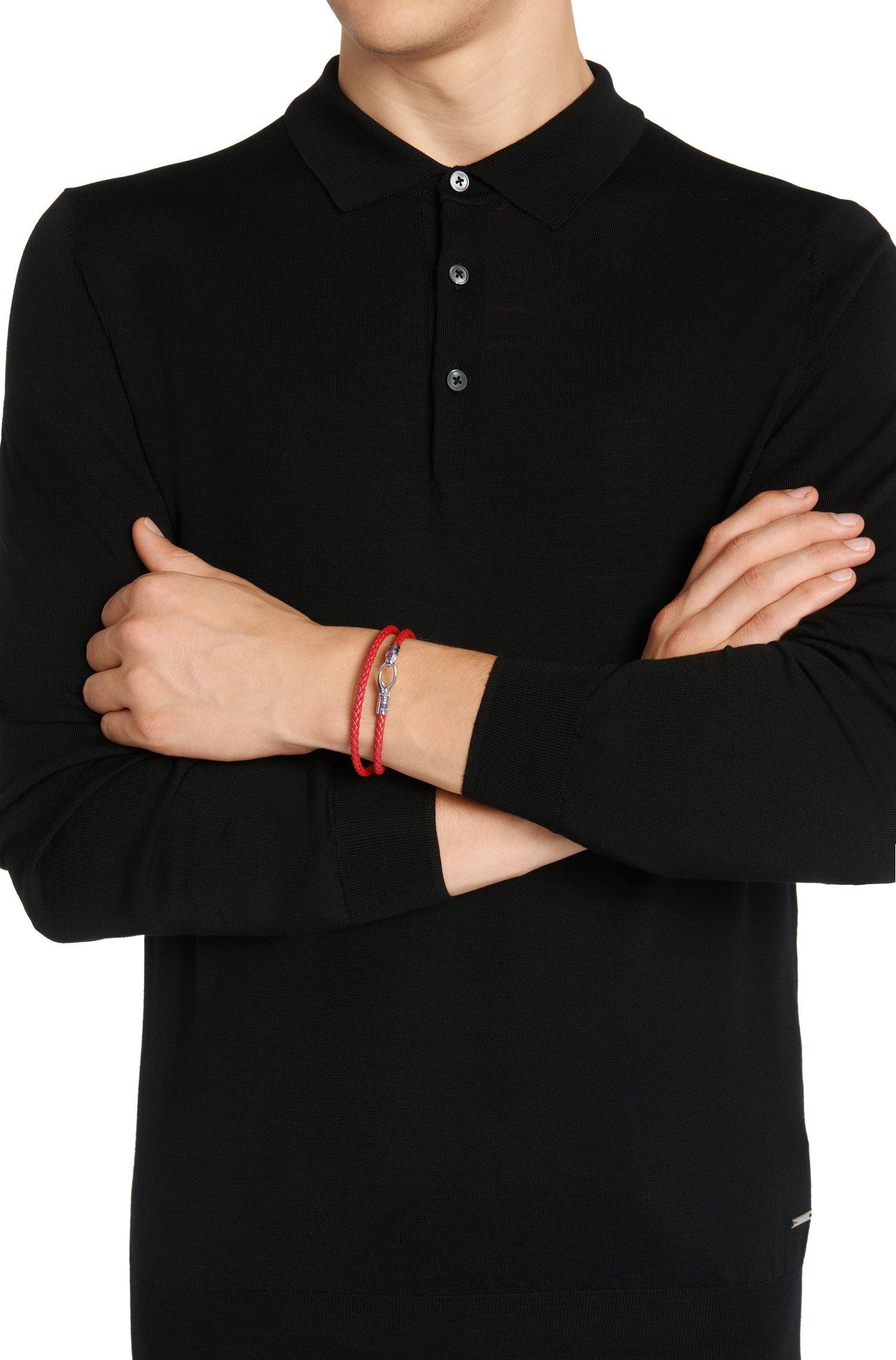 Bracelet enroulé en cuir à l'aspect tressé: «Benjamin»