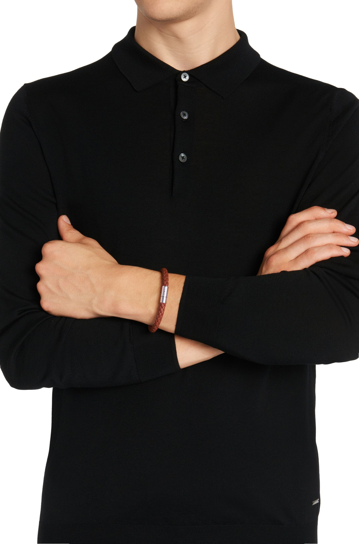 Armband van leer in vlechtlook: 'Balthazar'