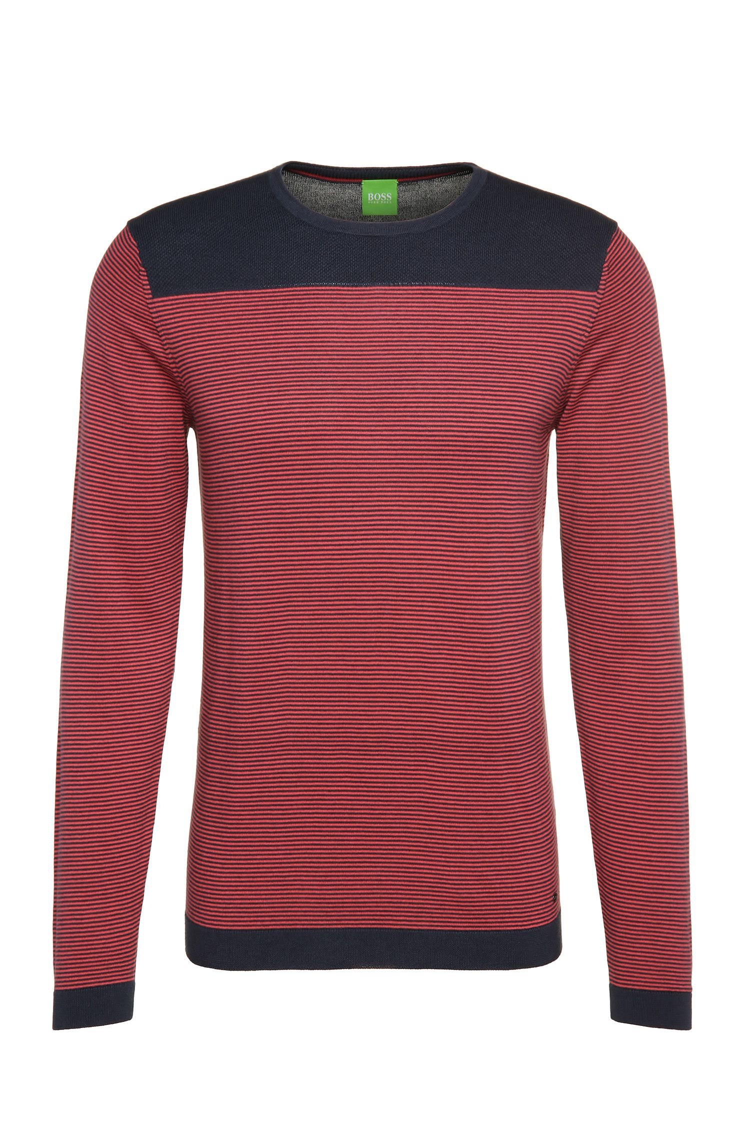 Striped slim-fit sweater in cotton blend with wool: 'Roff'