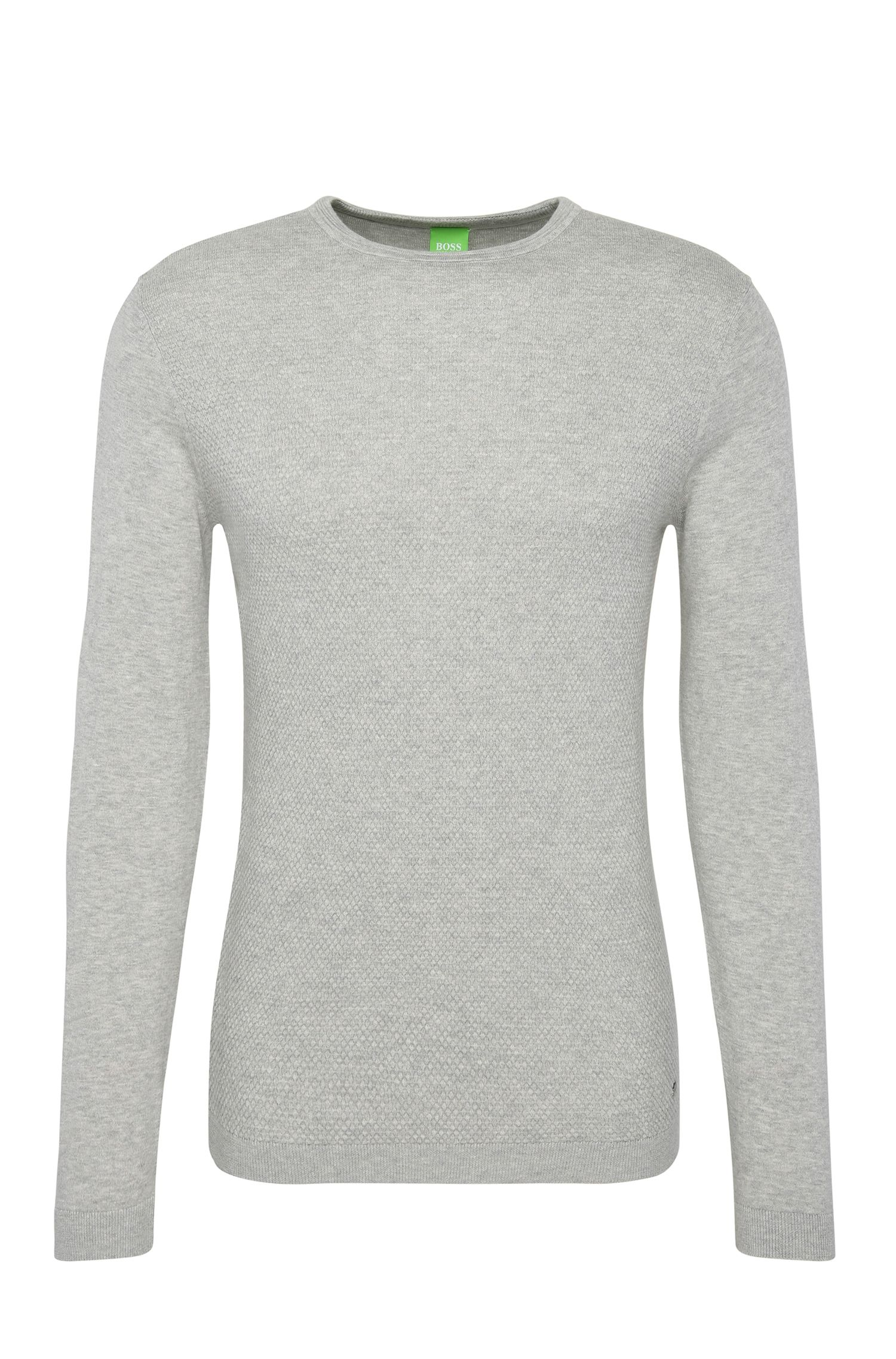 Regular-fit knit sweater in cotton blended with wool: 'Ritt'