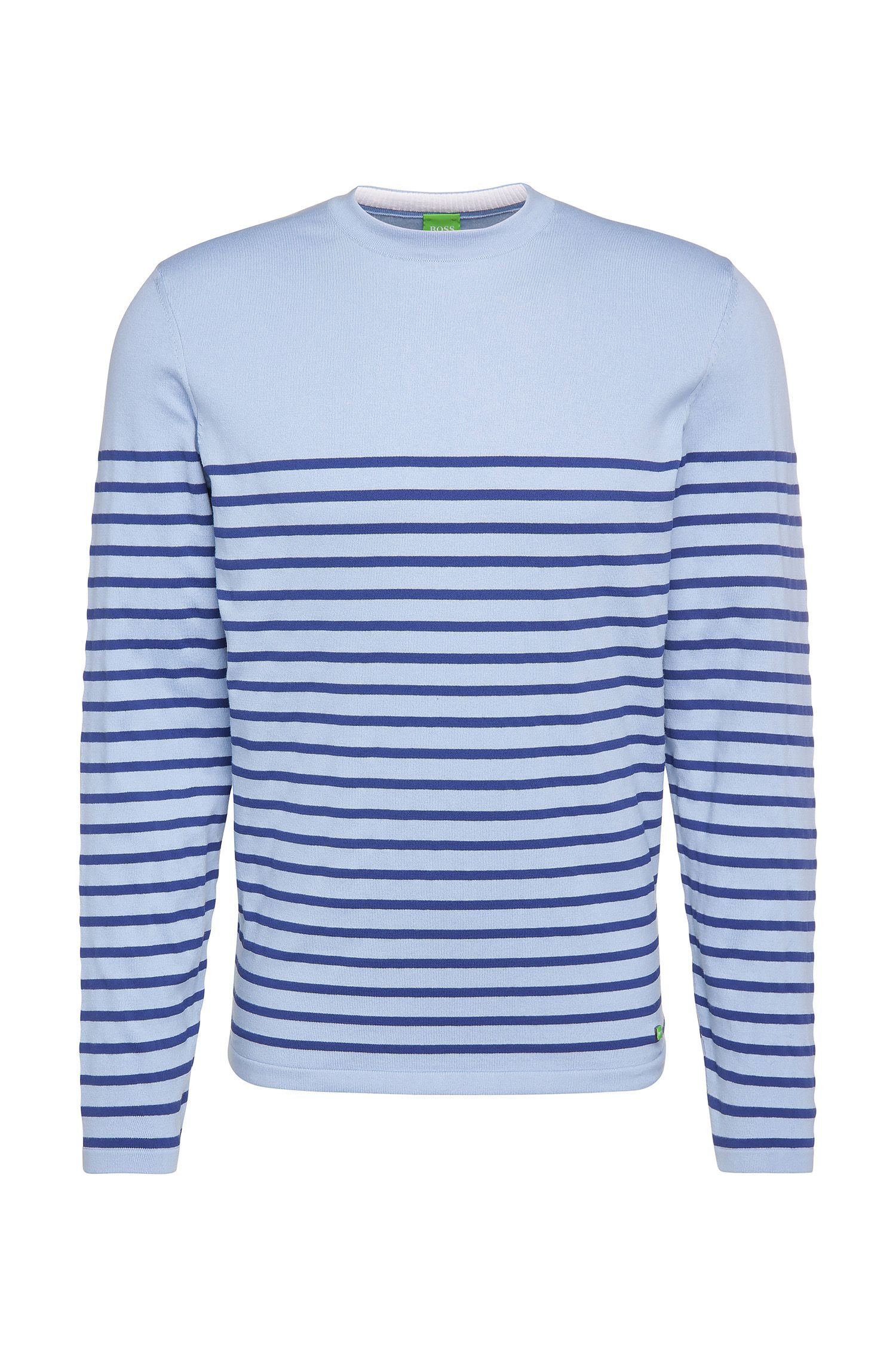 Slim-fit sweater in a stretch cotton blend with stripes: 'Rema'