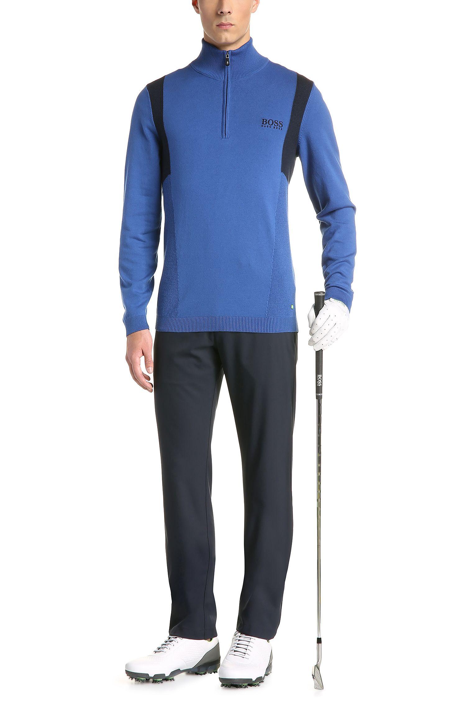 Regular-Fit Funktions-Pullover aus elastischem Baumwoll-Mix: ´ZelchiorProS17`