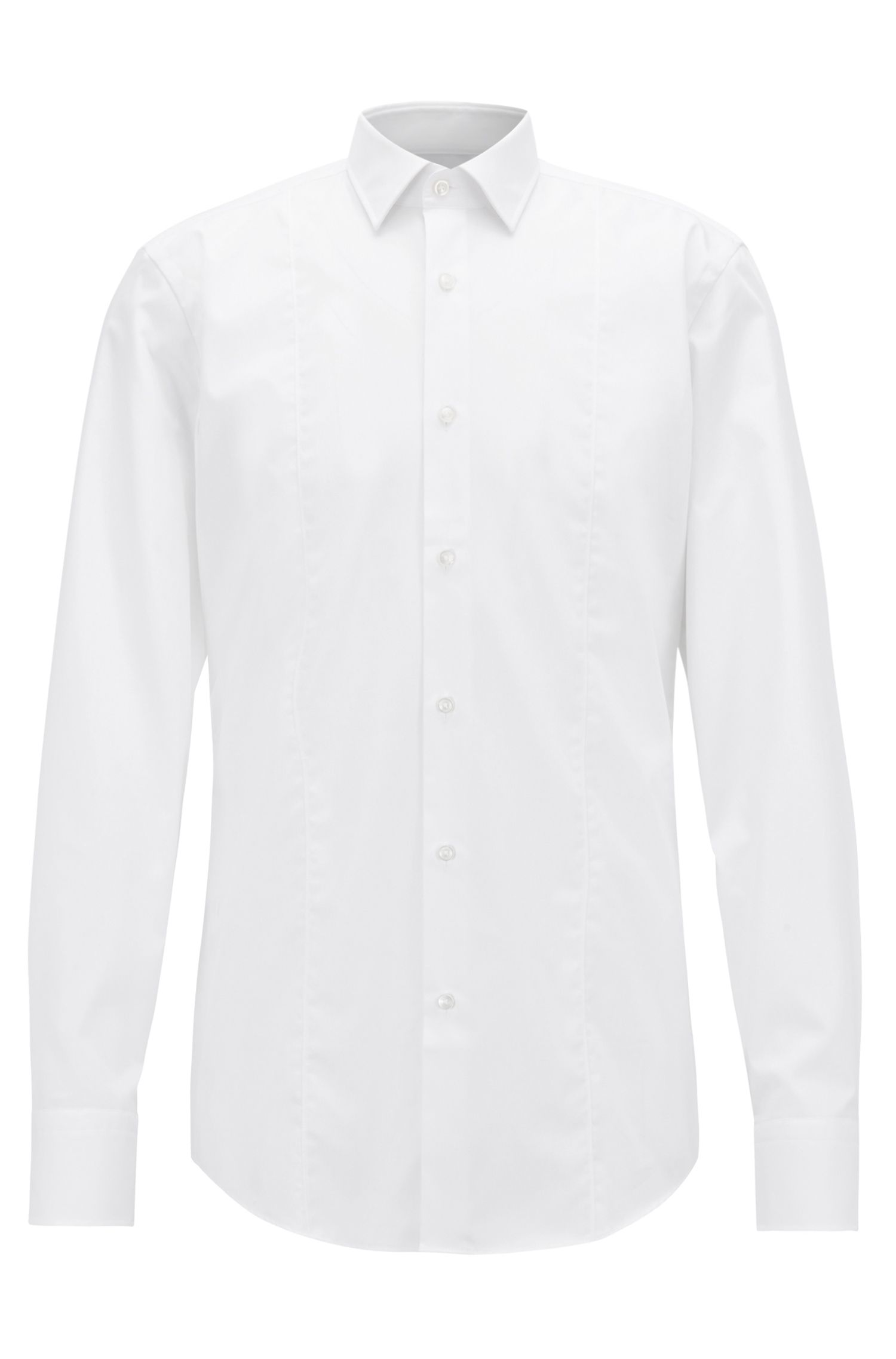 Plain slim-fit cotton shirt: 'Jilip'