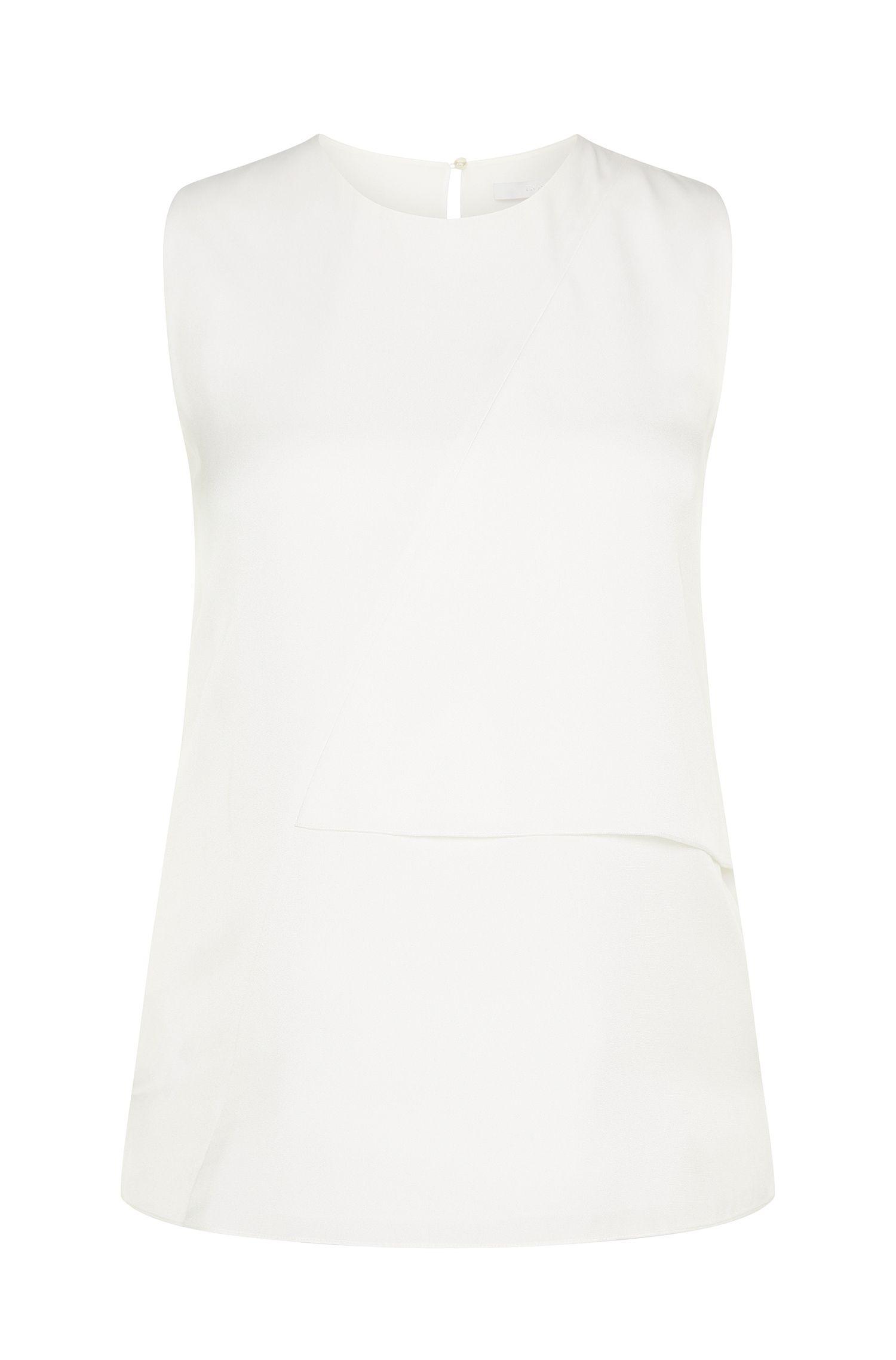 Layered-look top in stretch silk: 'Ifiona'