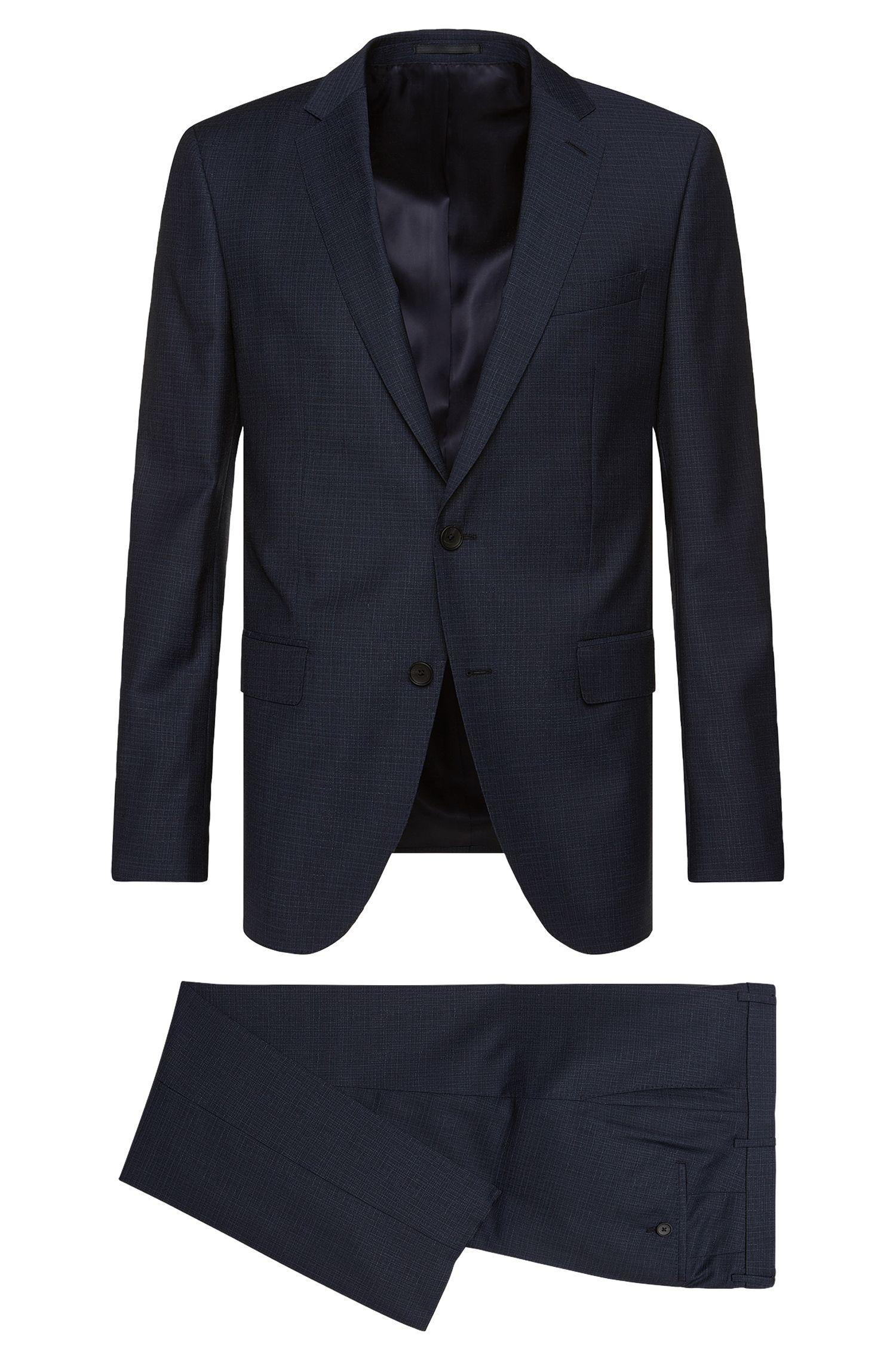 Slim-fit kostuum van gestructureerde scheerwol: 'Novan3/Ben'