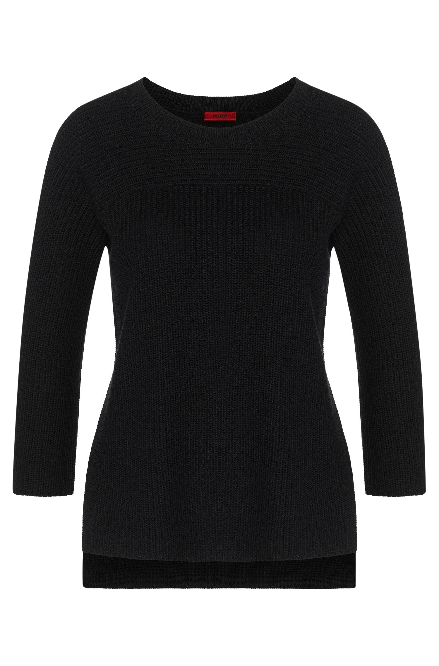 Plain sweater in cotton blend with viscose and silk: 'Saloma'