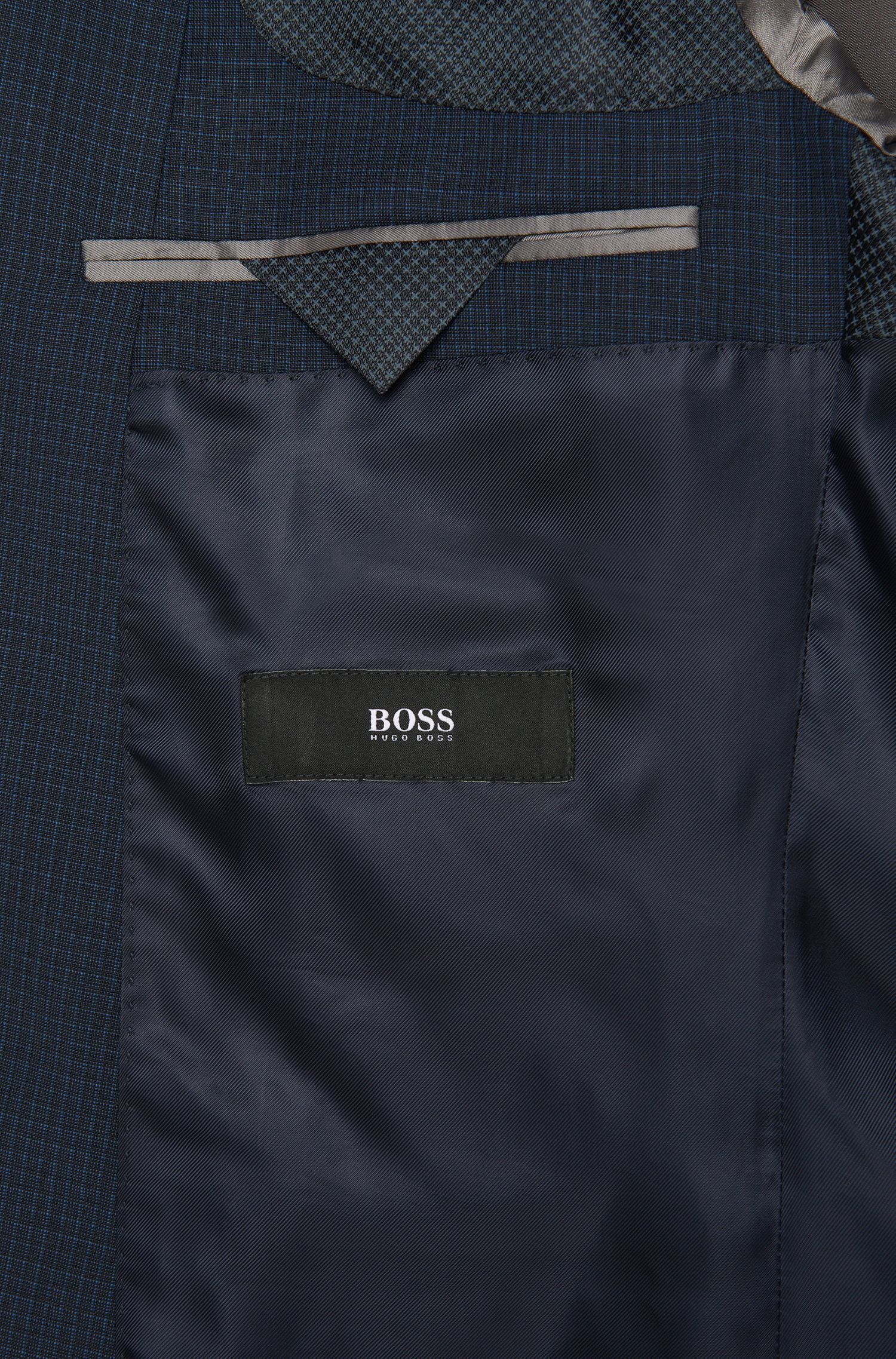 Costume à carreaux Slim Fit BOSS en laine vierge : « Hutson4/Gander1 »