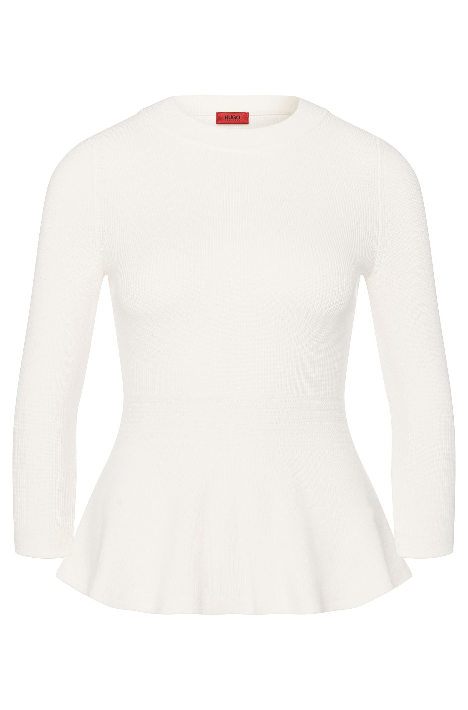 Sweater in viscose blend with peplum detail: 'Satinka'