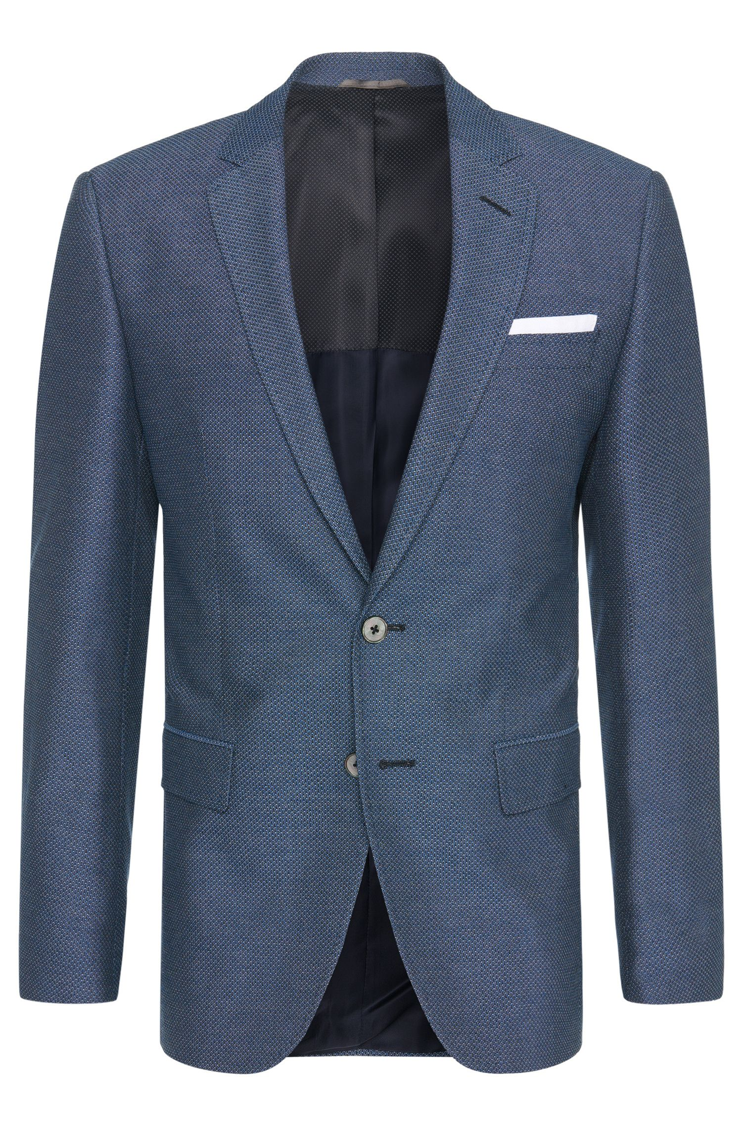 Patterned slim-fit jacket in cotton blend with integrated pocket square: 'Hutson3'