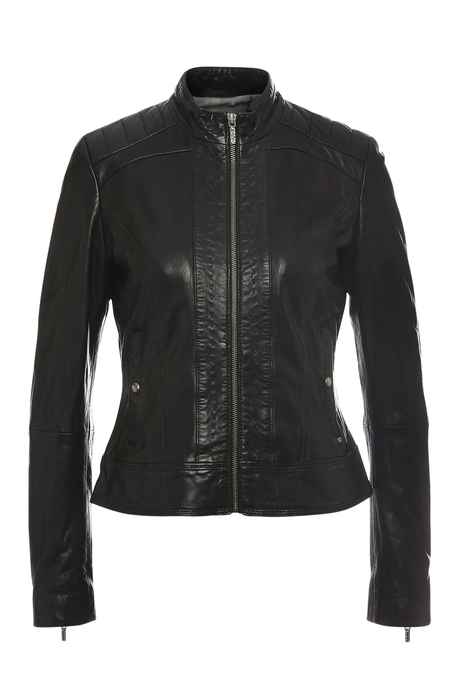 Slim-fit leather jacket with biker-style topstitching: 'Janabelle1'