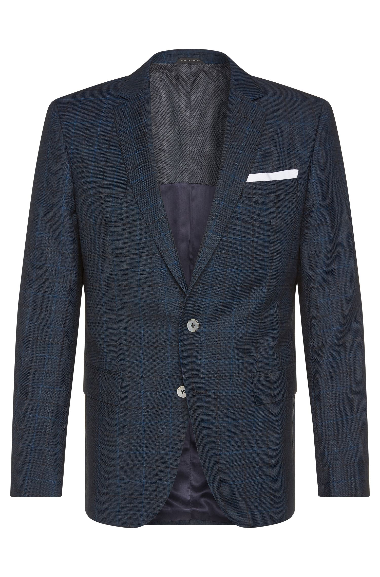 Giacca slim fit in lana vergine con bottoni in madreperla: 'Hutson3'