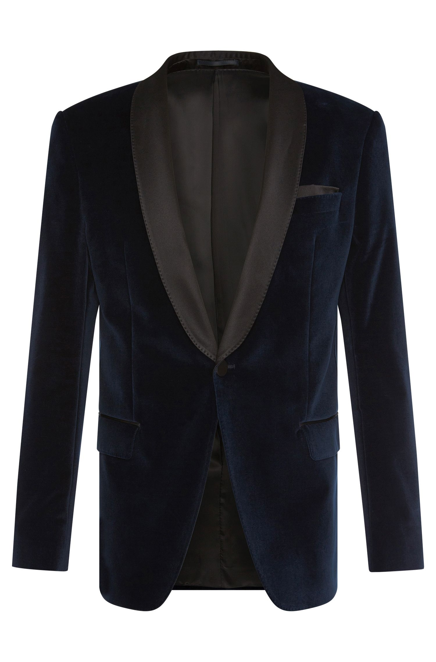 Slim-fit dinner jacket in cotton with silk detailing: 'Hockley'