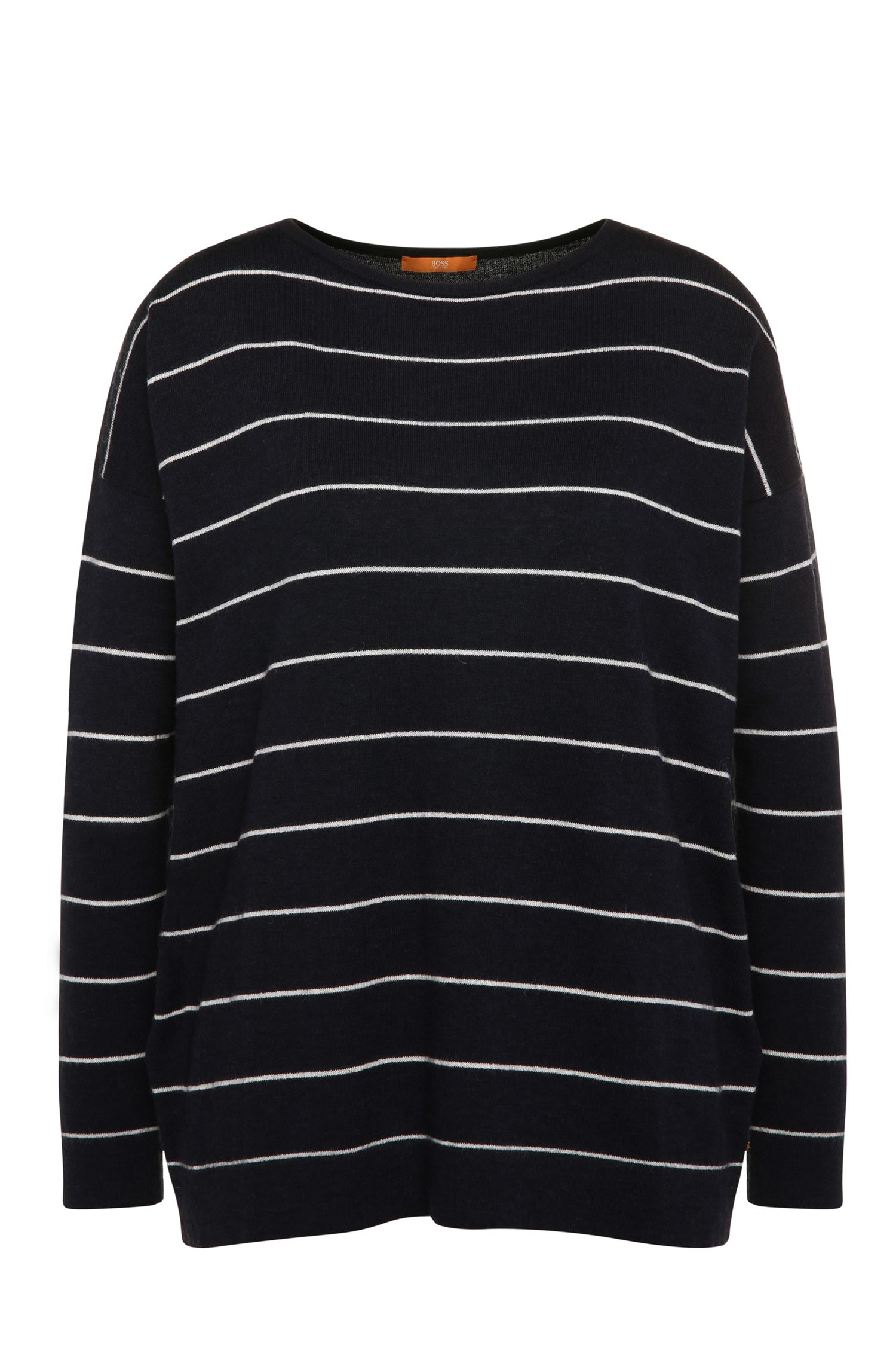 Striped relaxed-fit sweater in fabric blend with new wool and alpaca: 'Wendelly'