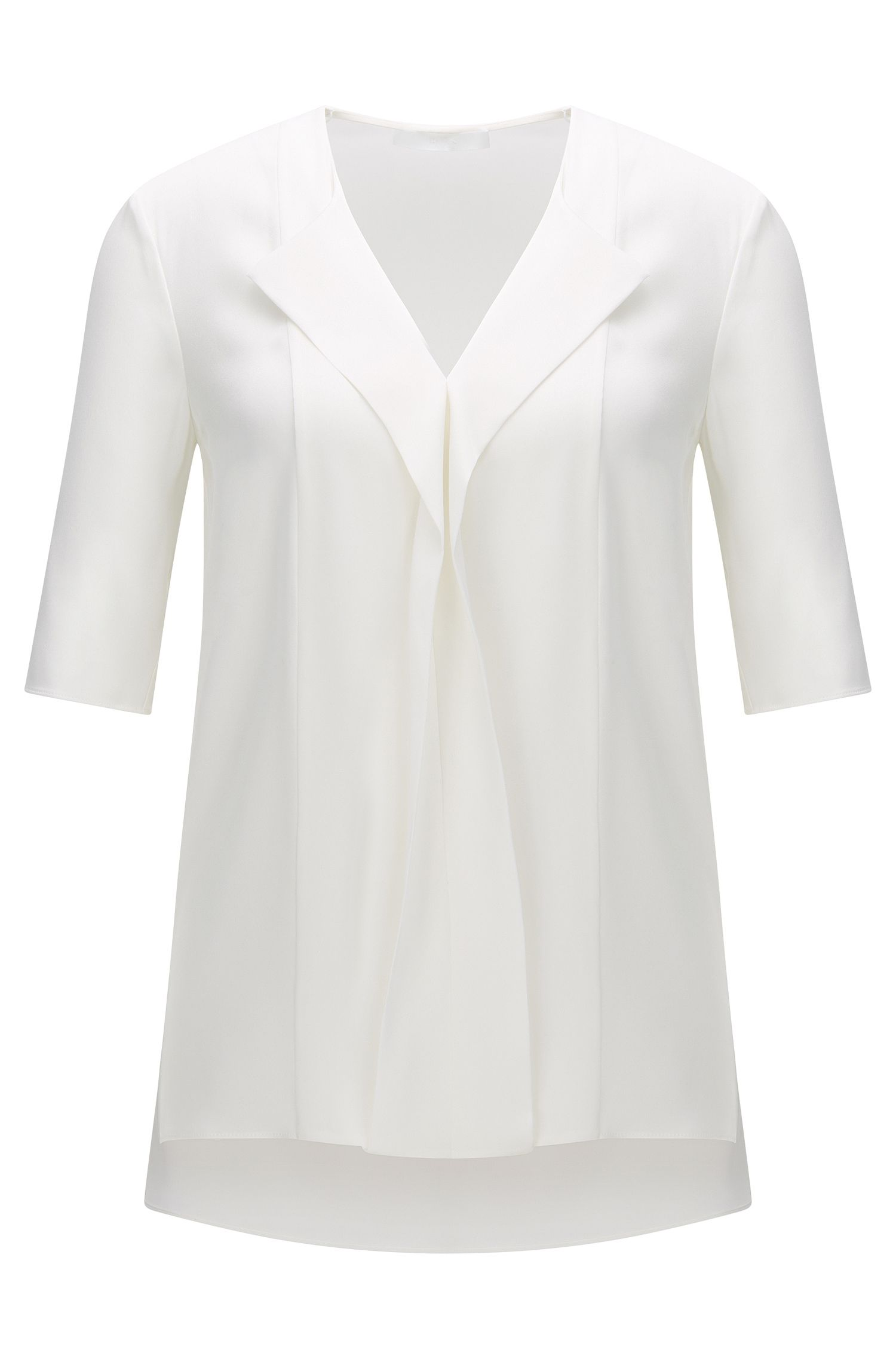 Top in stretch silk with ¾-length sleeves: 'Iwola'