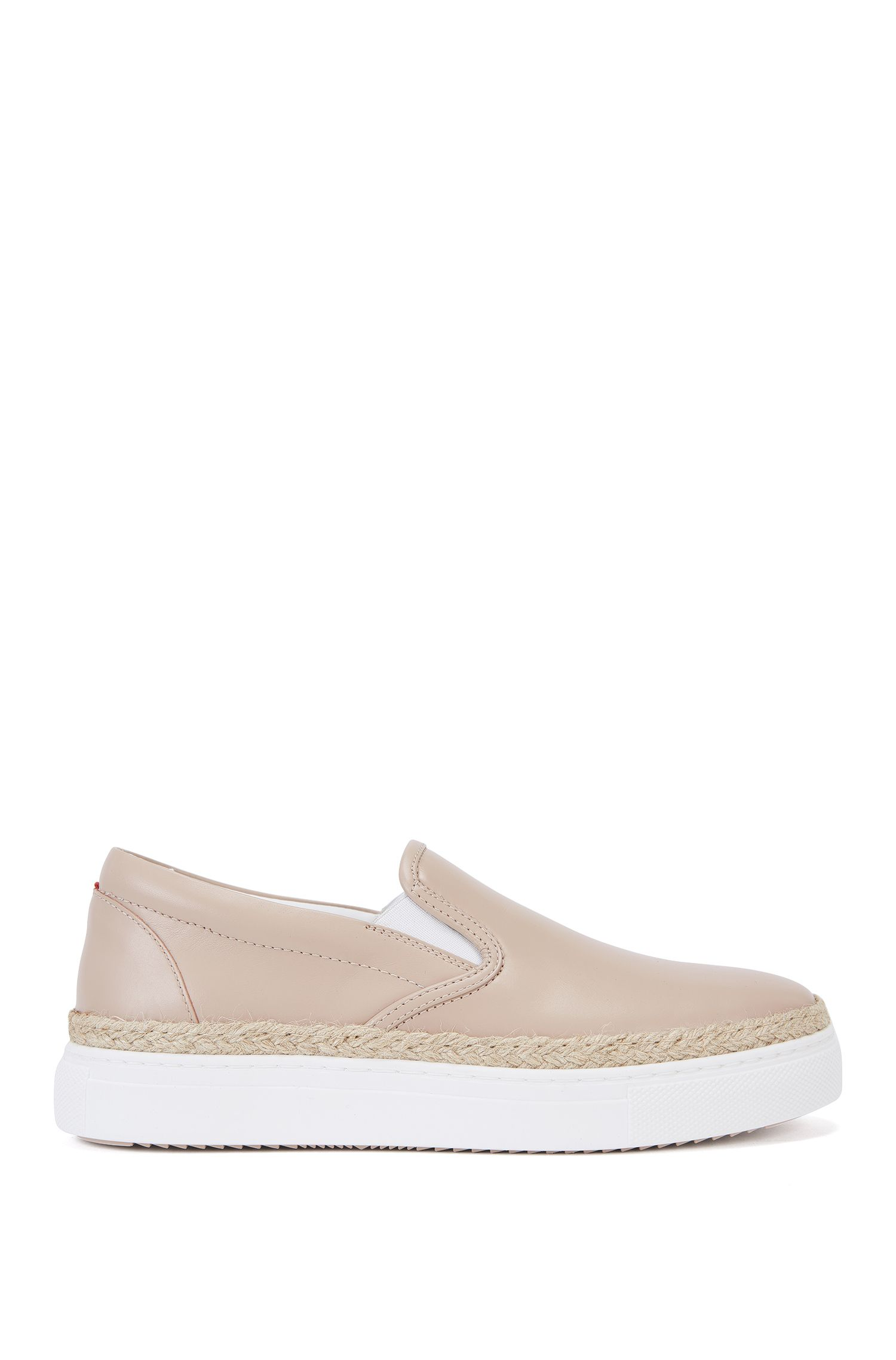 Sneakers senza stringhe in pelle con inserto in rafia: 'Chloe-R'