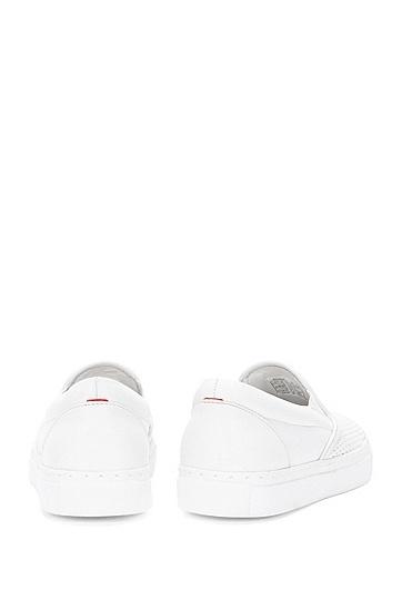 Schnürlose Sneakers aus perforiertem Leder: 'Chloe-P', Weiß