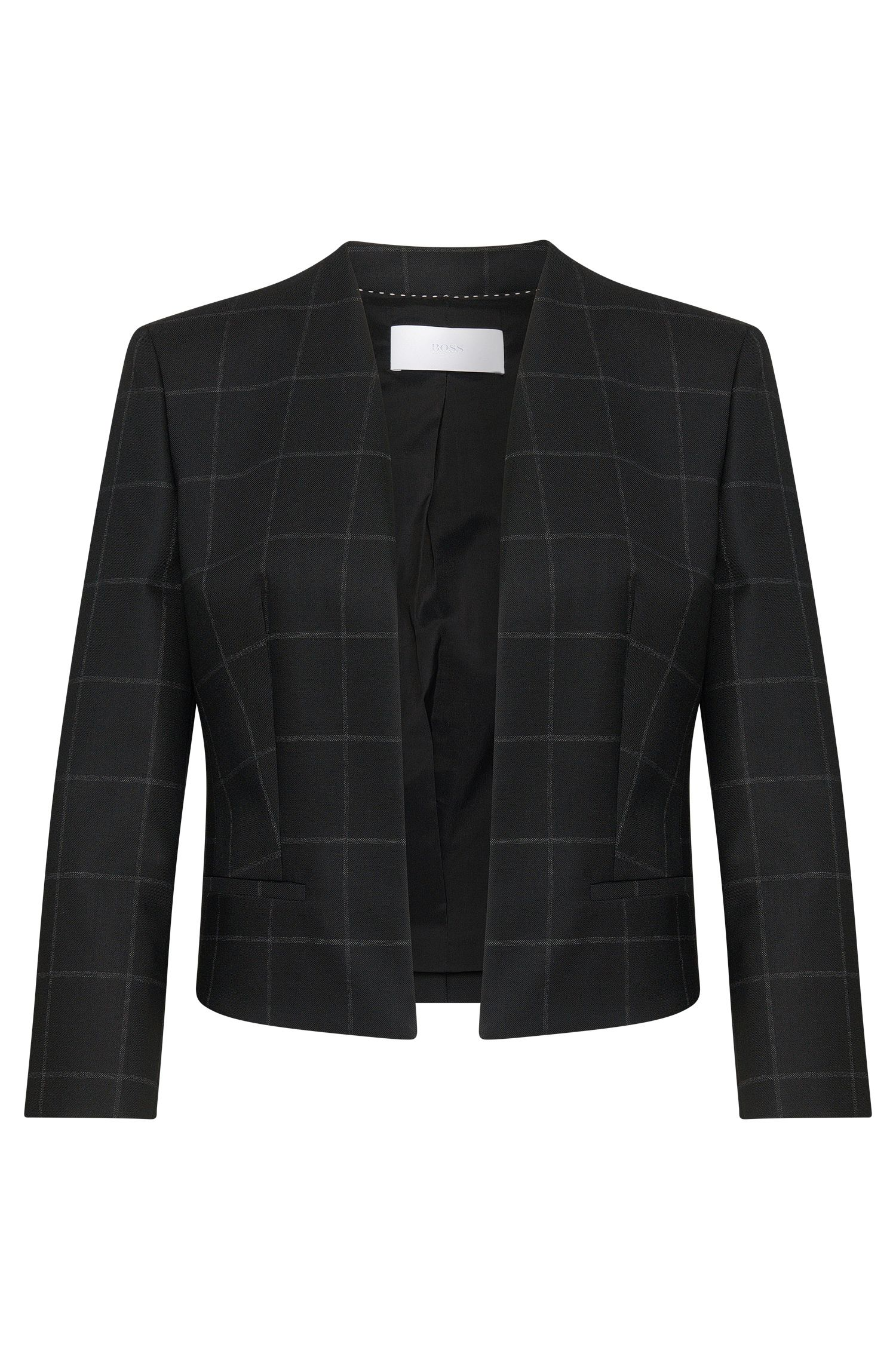 Cropped blazer in a new-wool blend with open front: 'Jianne'