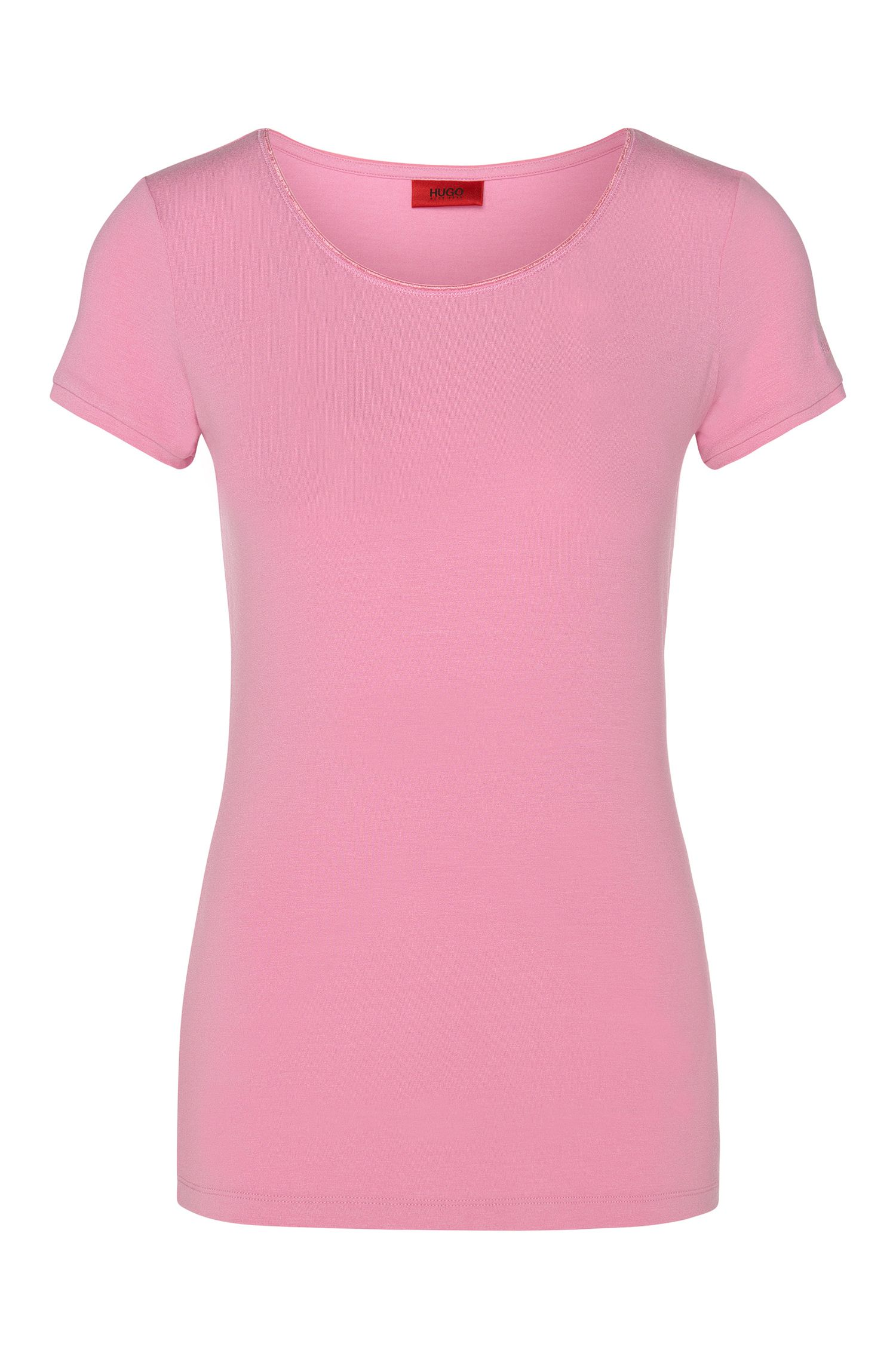 Plain t-shirt in stretch viscose: 'Dabena'