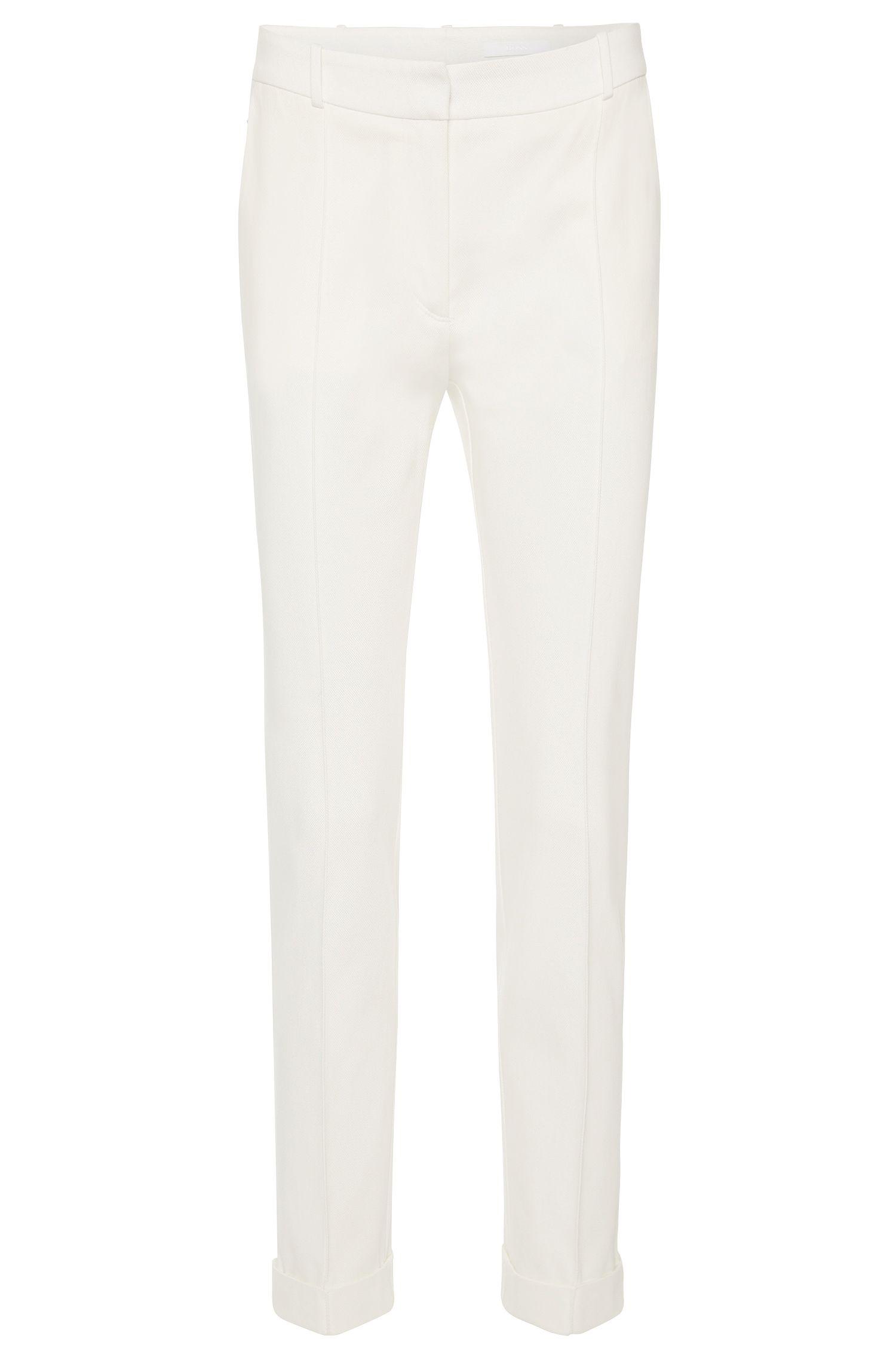 Pantalón de pinzas regular fit en algodón elástico: 'Acrila'