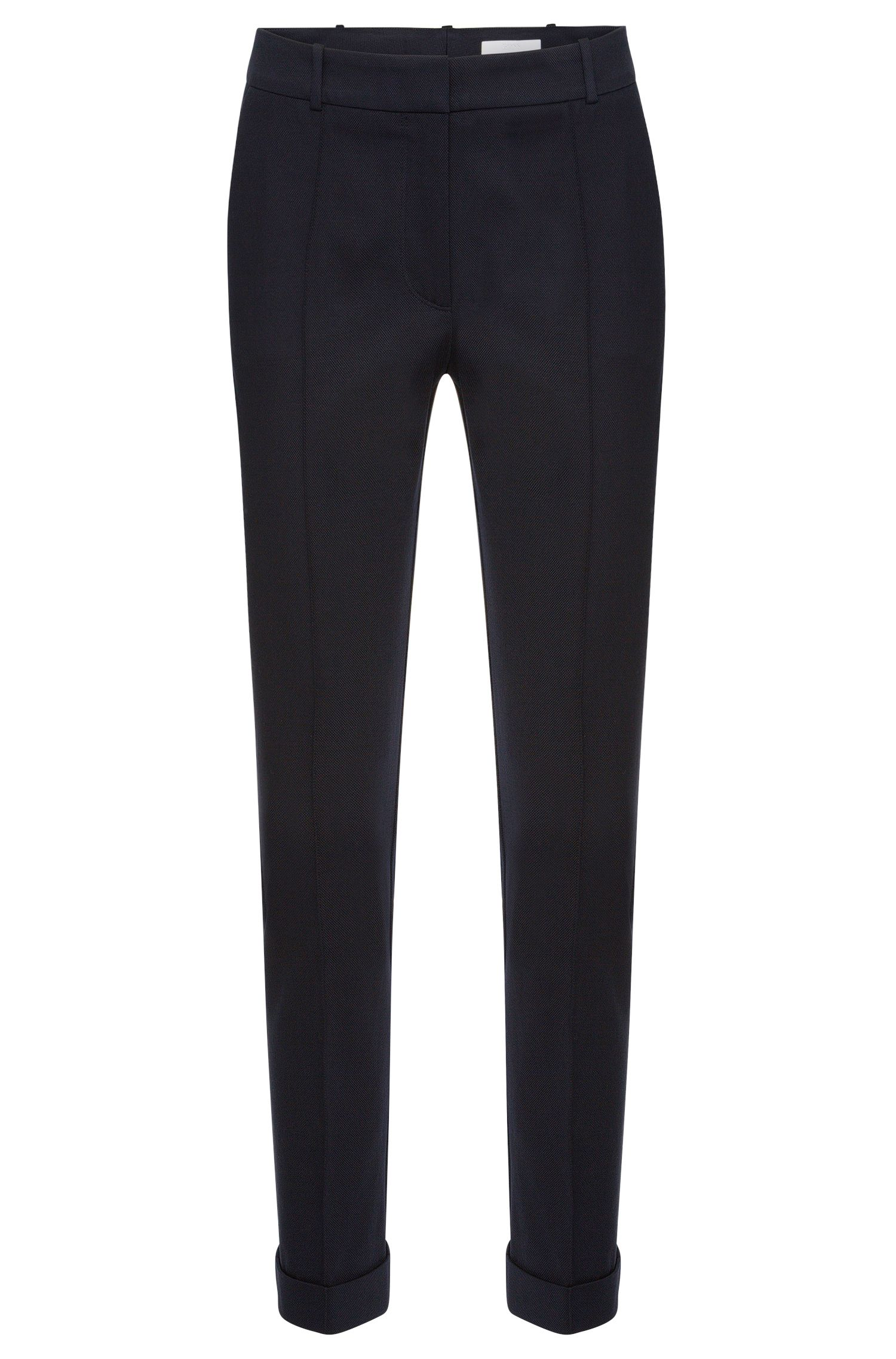Regular-fit pleat-front trousers in stretch cotton: 'Acrila'