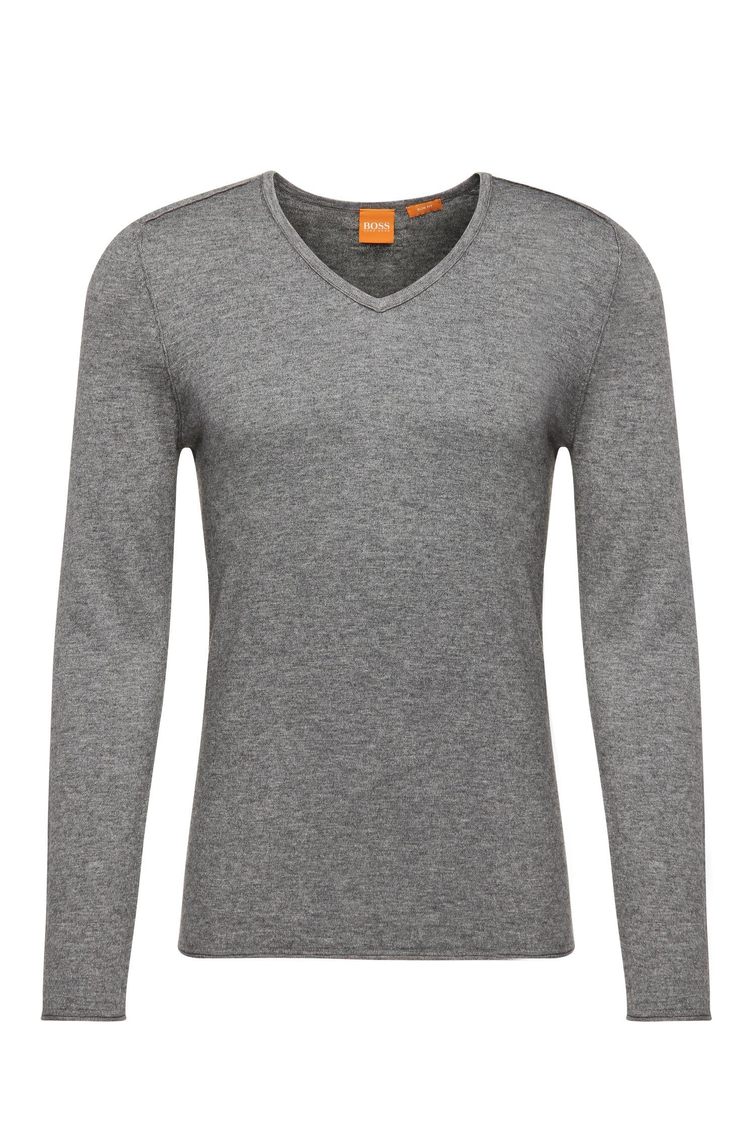 Jersey slim fit en mezcla de algodón con lana virgen: 'Kameross'