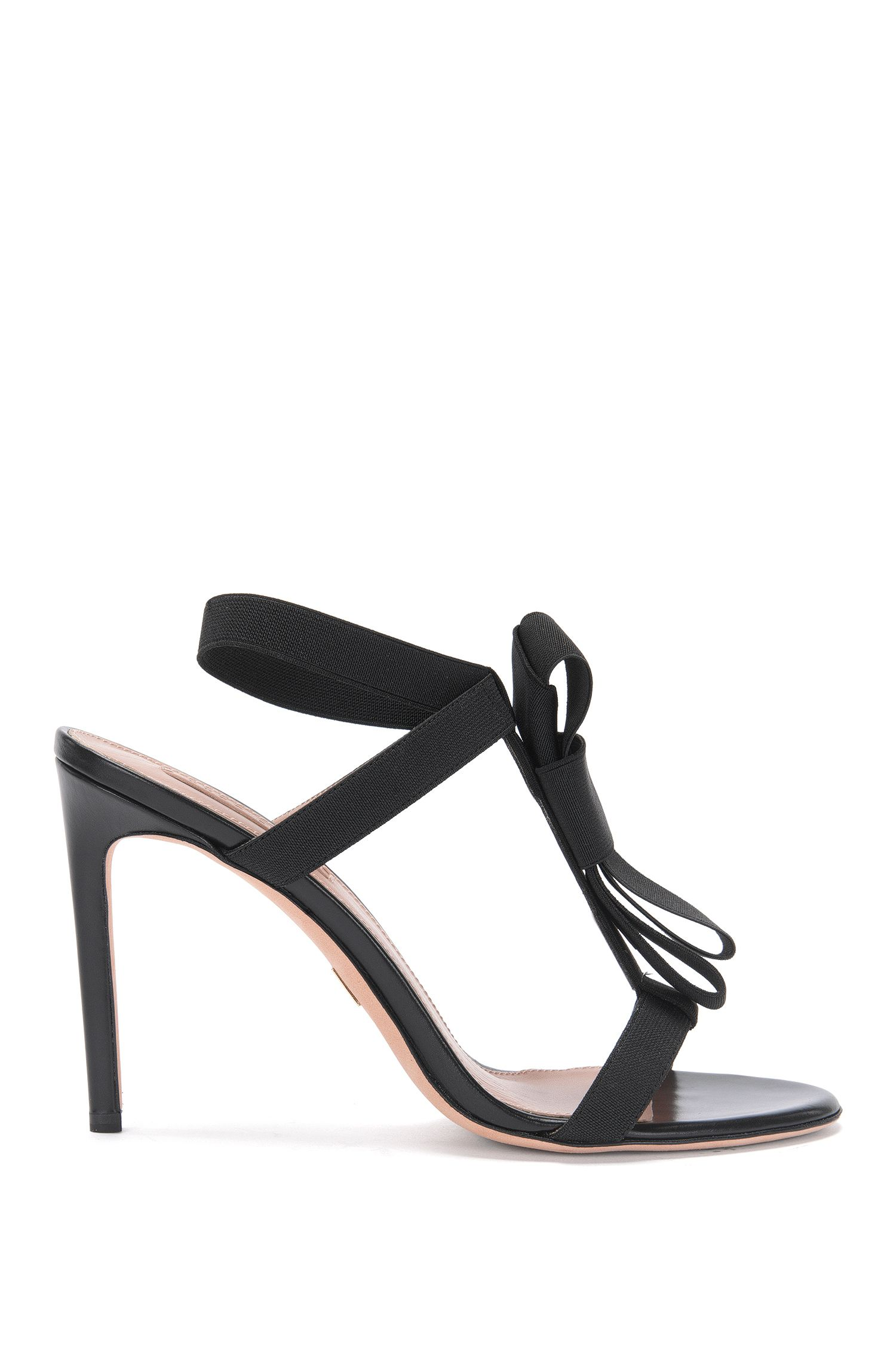 Leather high heels with elastic straps: 'Bow Tie Sandal'