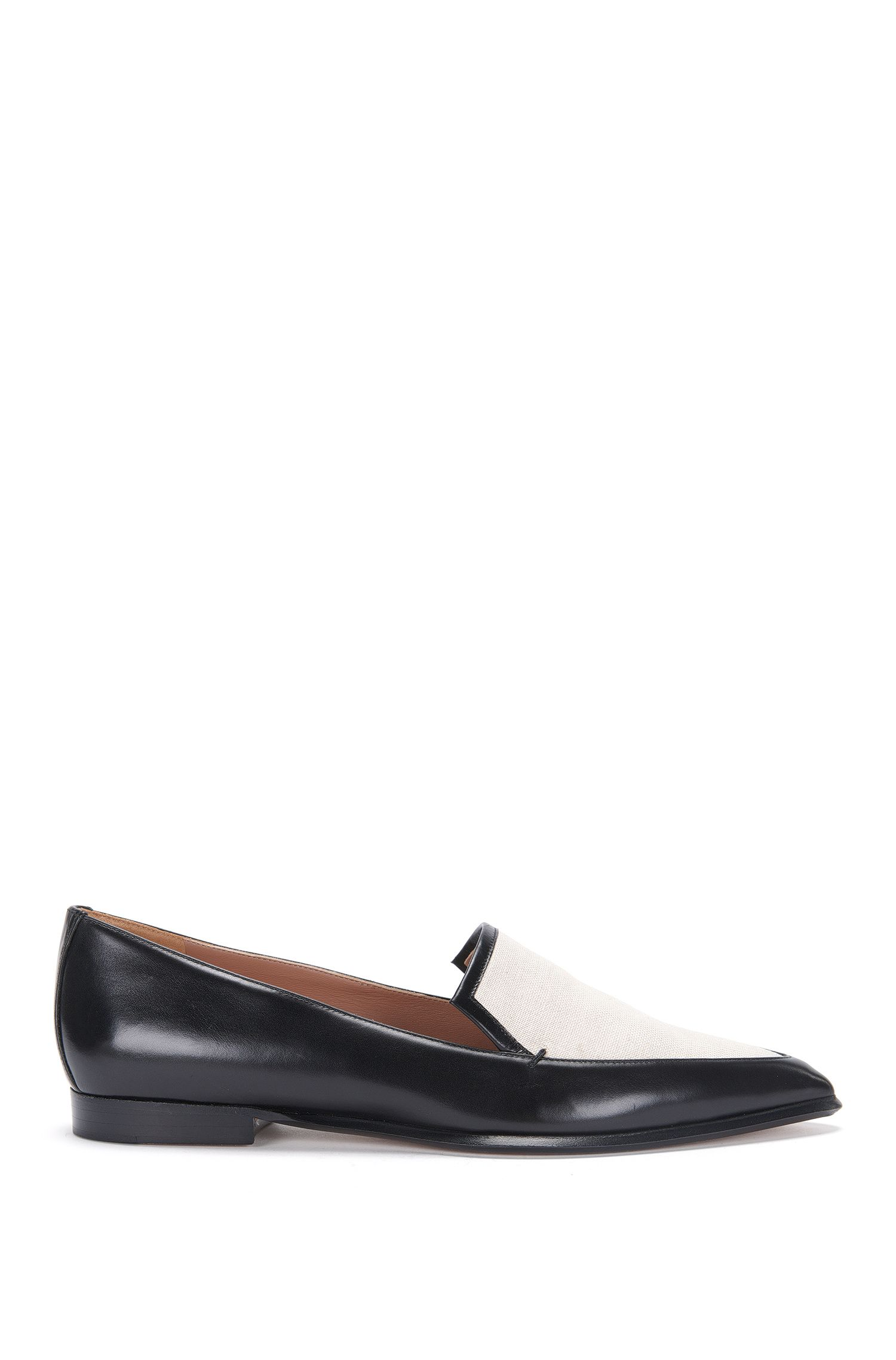 Leather loafers with canvas trim: 'Canvas Loafer 10'