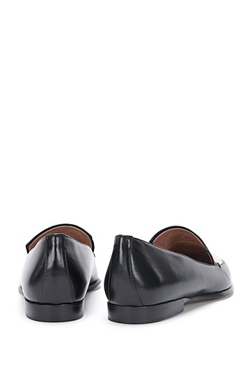 Loafer aus Leder mit Canvas-Besatz: 'Canvas Loafer 10', Natur