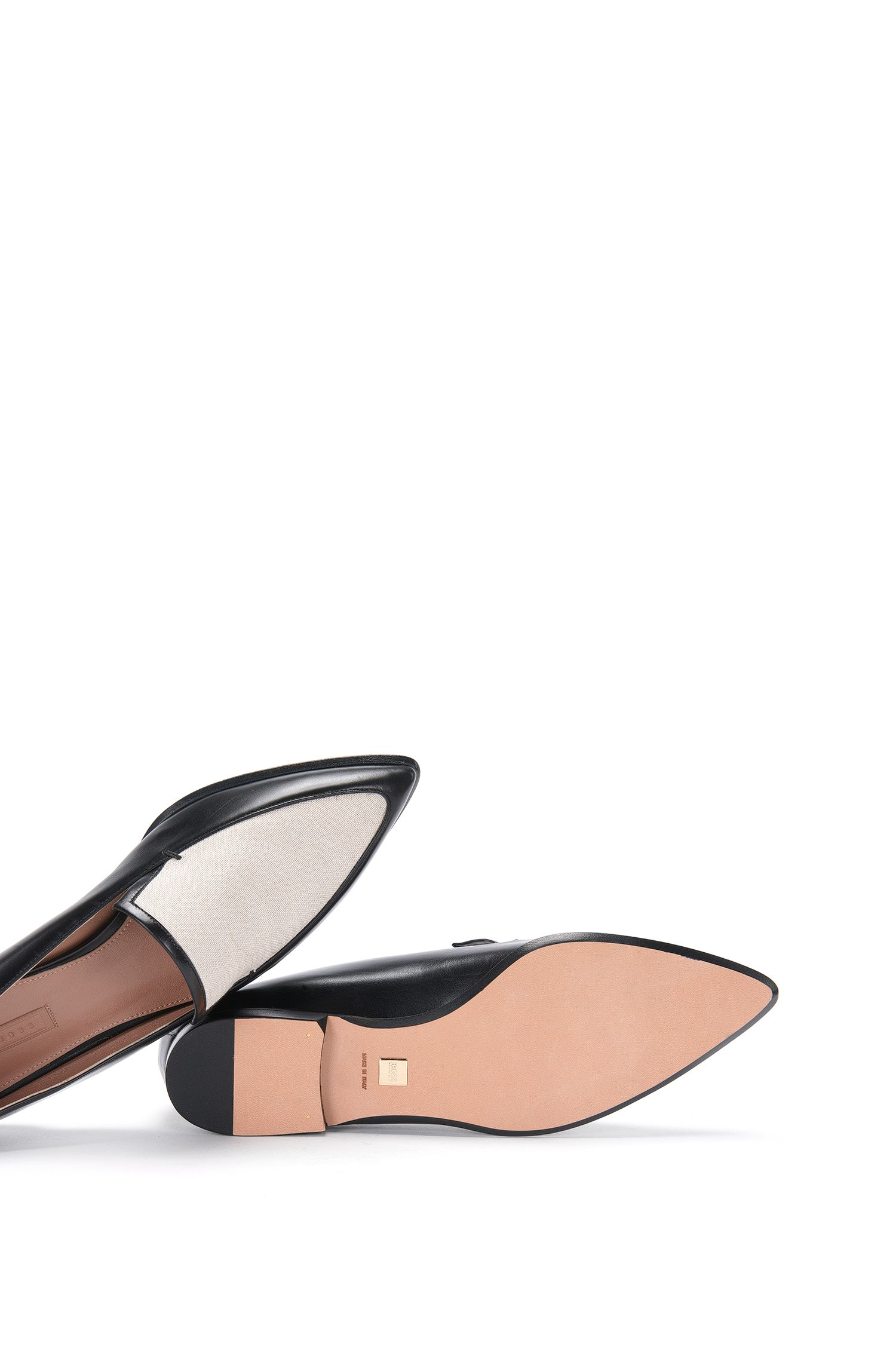 Loafer aus Leder mit Canvas-Besatz: 'Canvas Loafer 10'