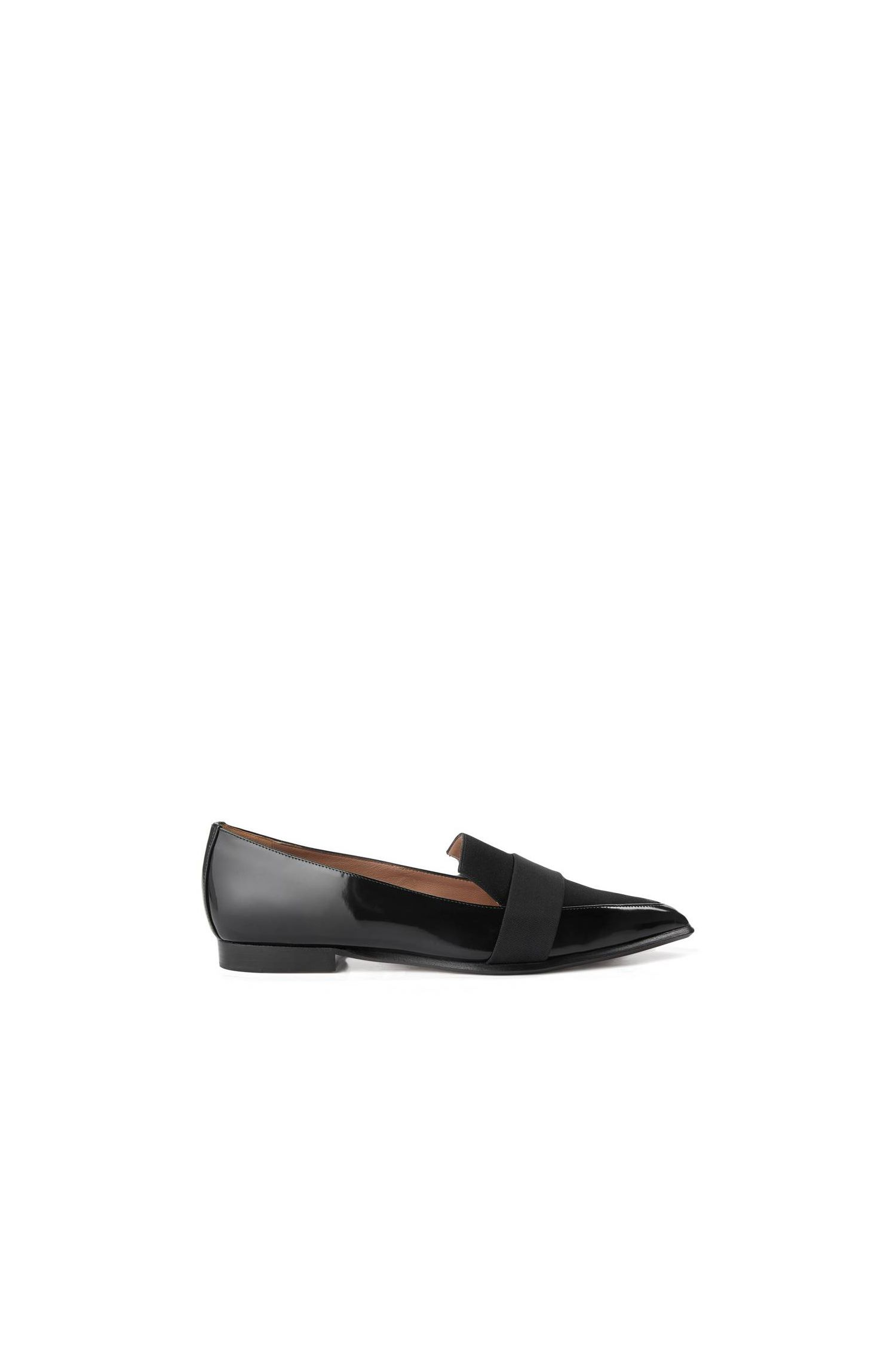Loafers van lakleer met katoenpassement: 'Bow Tie Loafer'