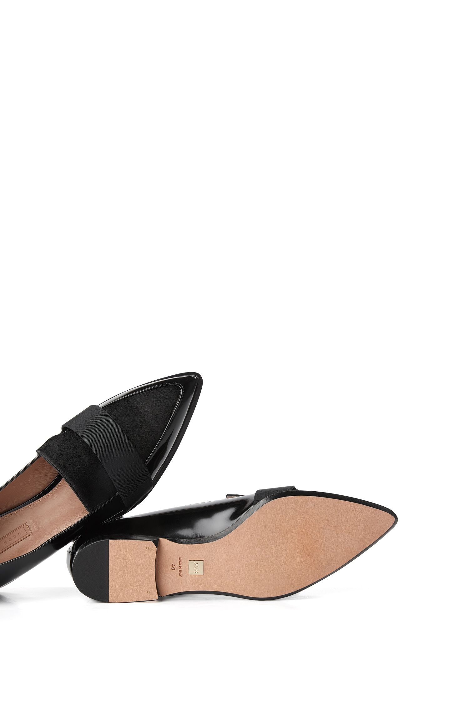Mocassins en cuir verni à empiècement en coton : « Bow Tie Loafer »