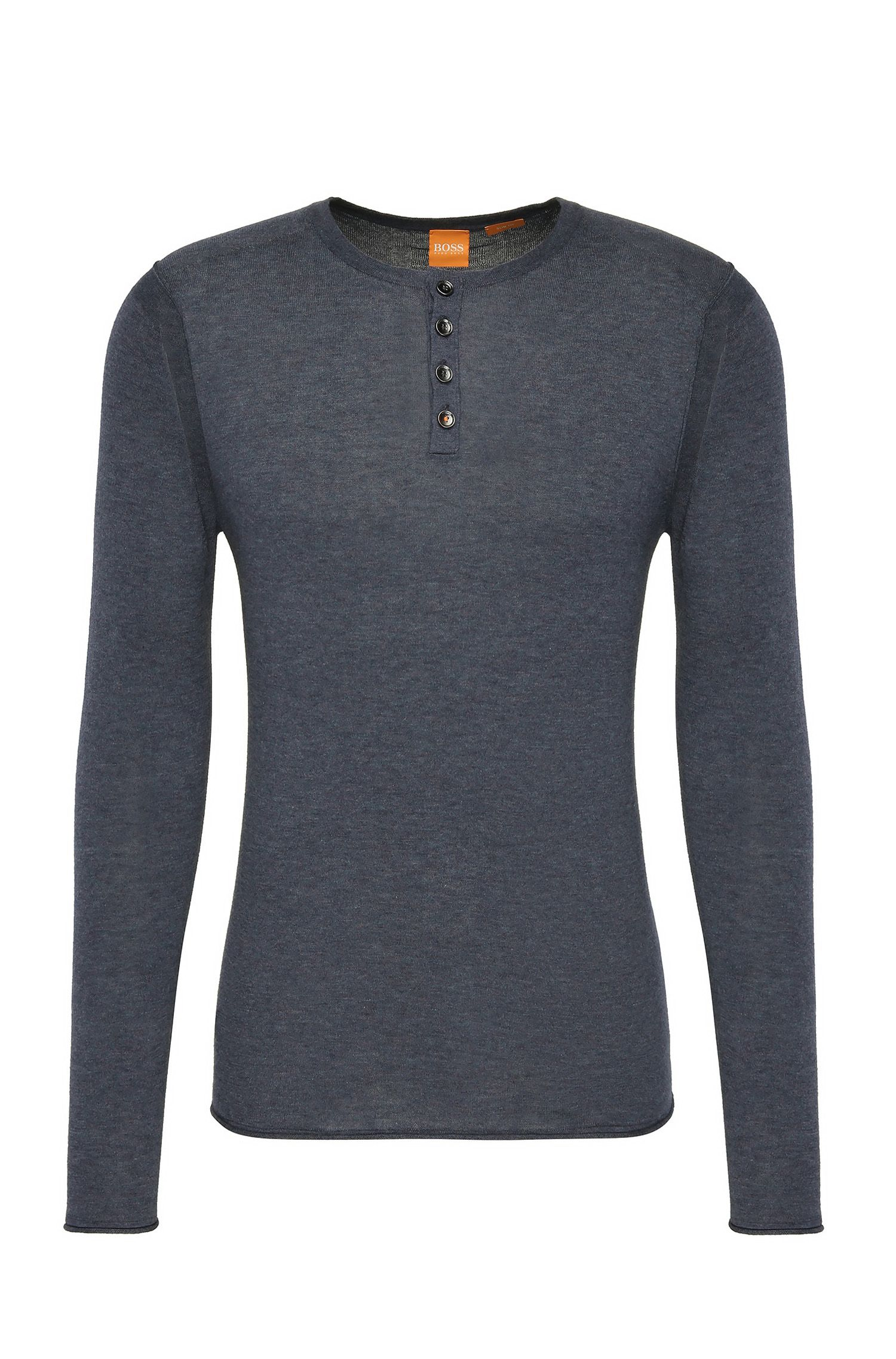 Slim-fit sweater in lightweight knitted cotton: 'Koastly'
