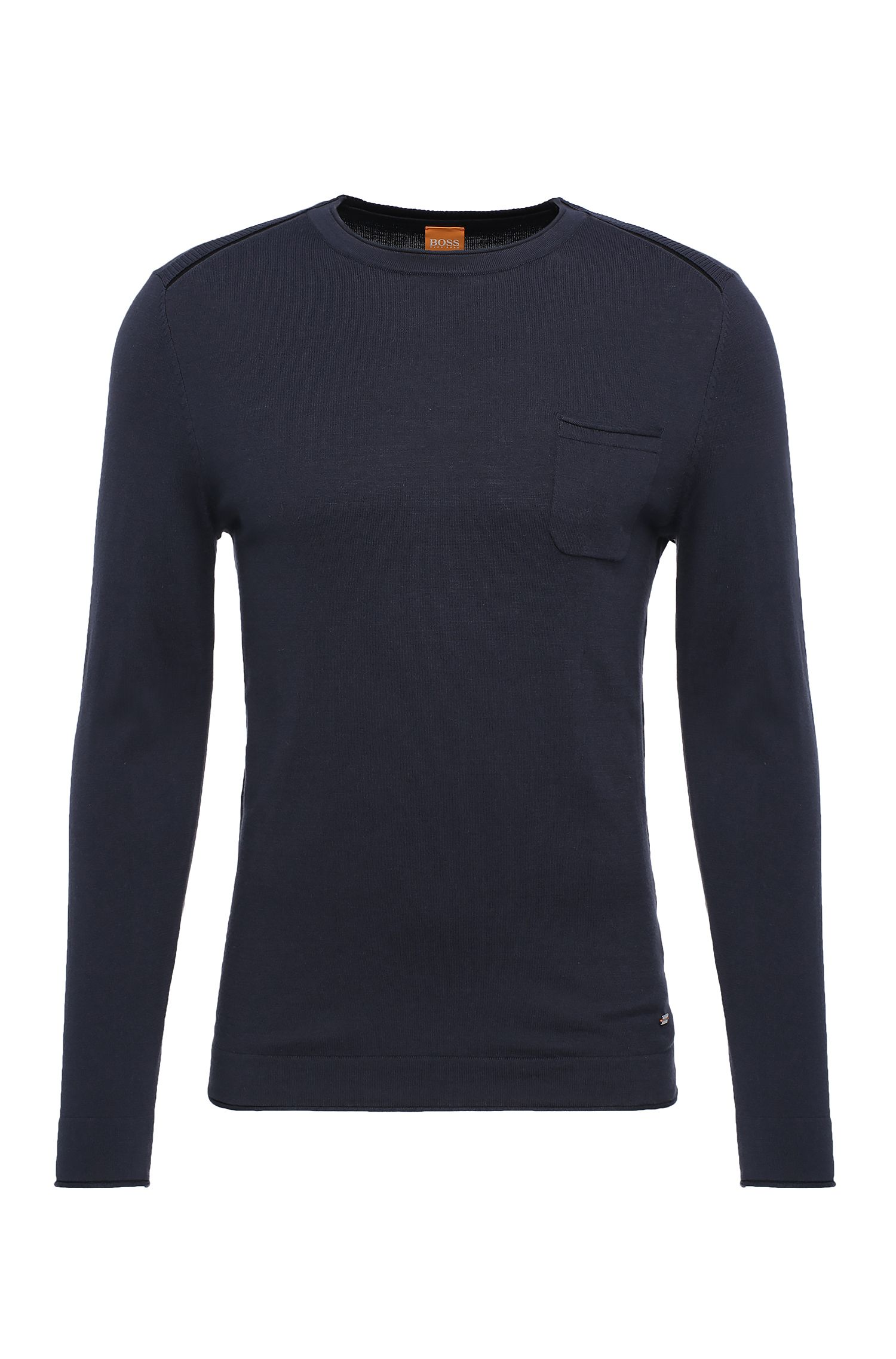 Slim-fit sweater in cotton blend with viscose and silk: 'Krewyt'