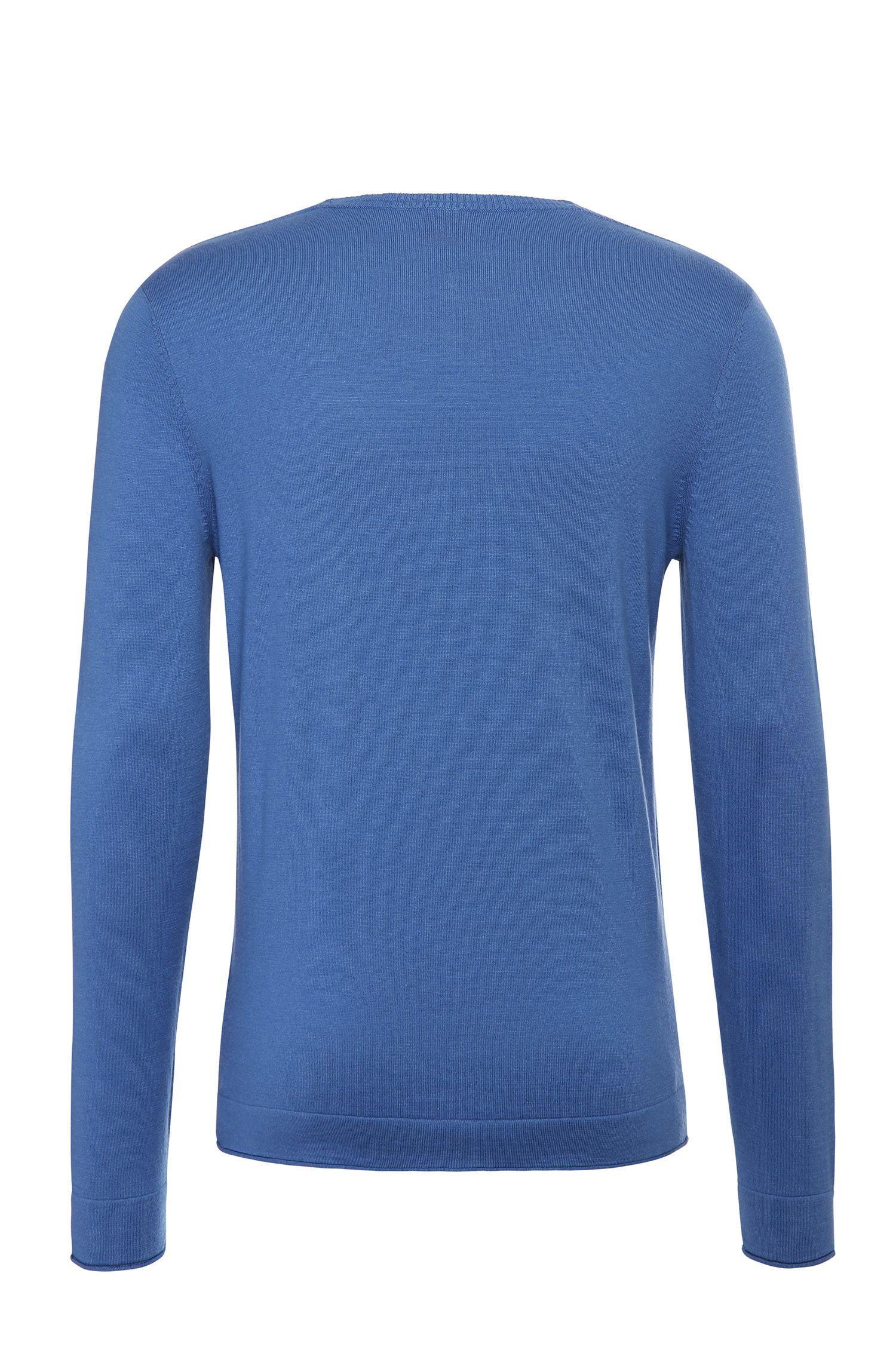 Slim-fit trui van een katoenmix met viscose en zijde: 'Krewyt'