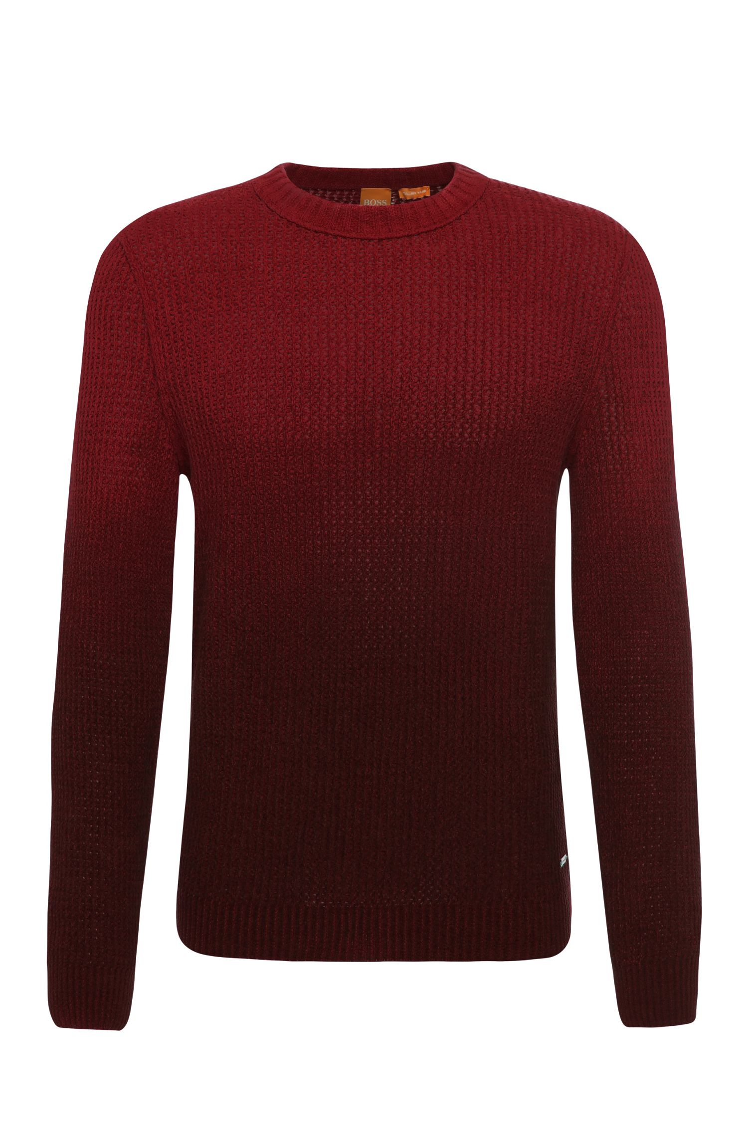Slim-fit knit sweater in cotton with subtle colour graduation: 'Kavigrado'