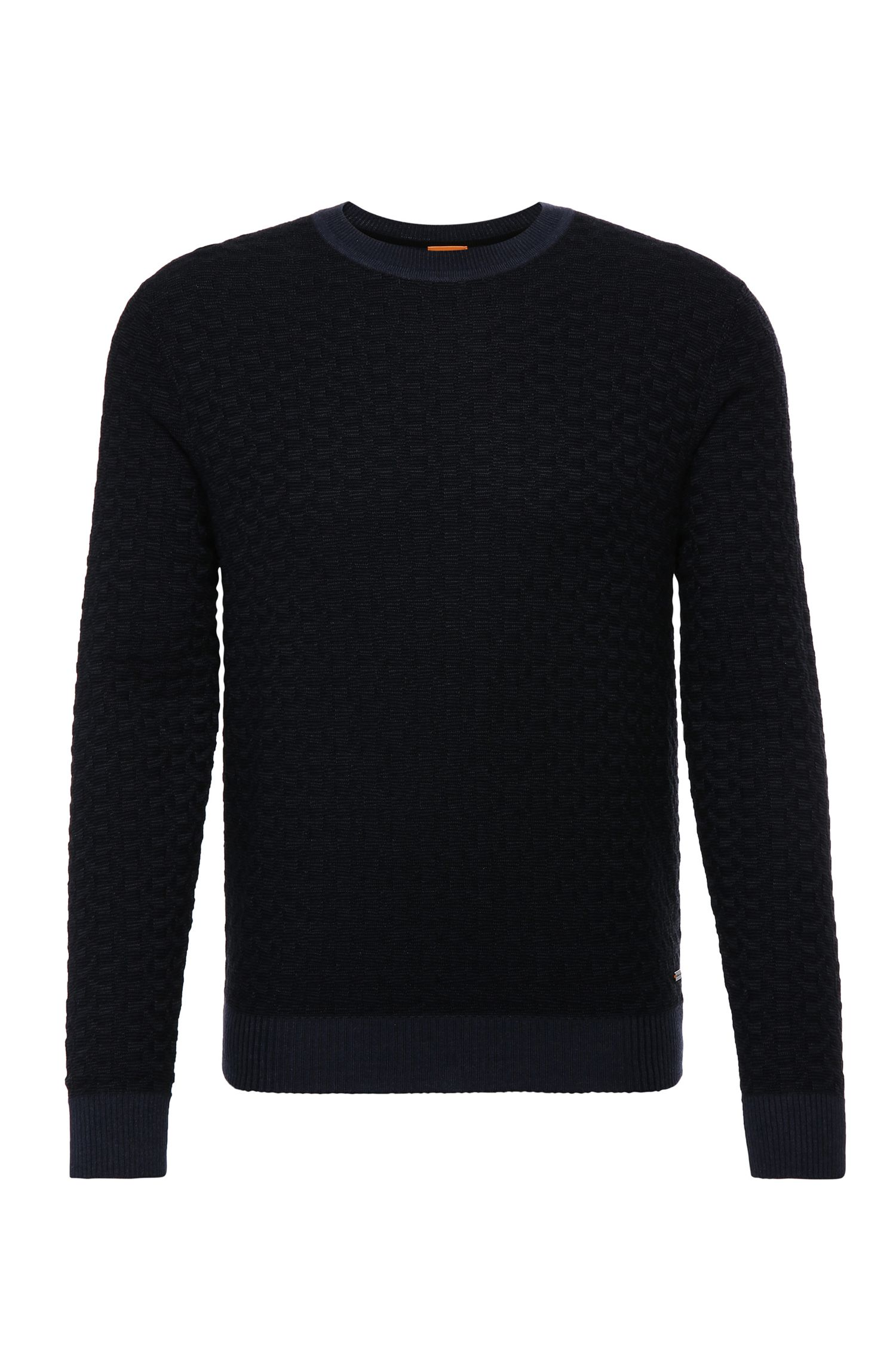 Slim-fit sweater in cotton blend with viscose and silk: 'Kuvudo'