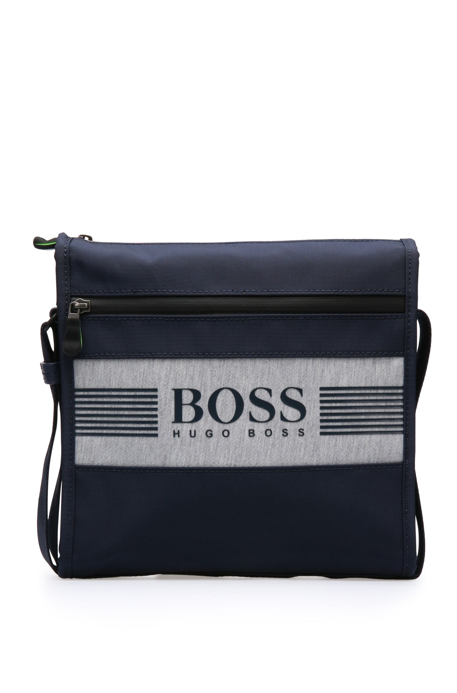 Small shoulder bag in fabric blend in logo design: 'Pixel JB zip env'