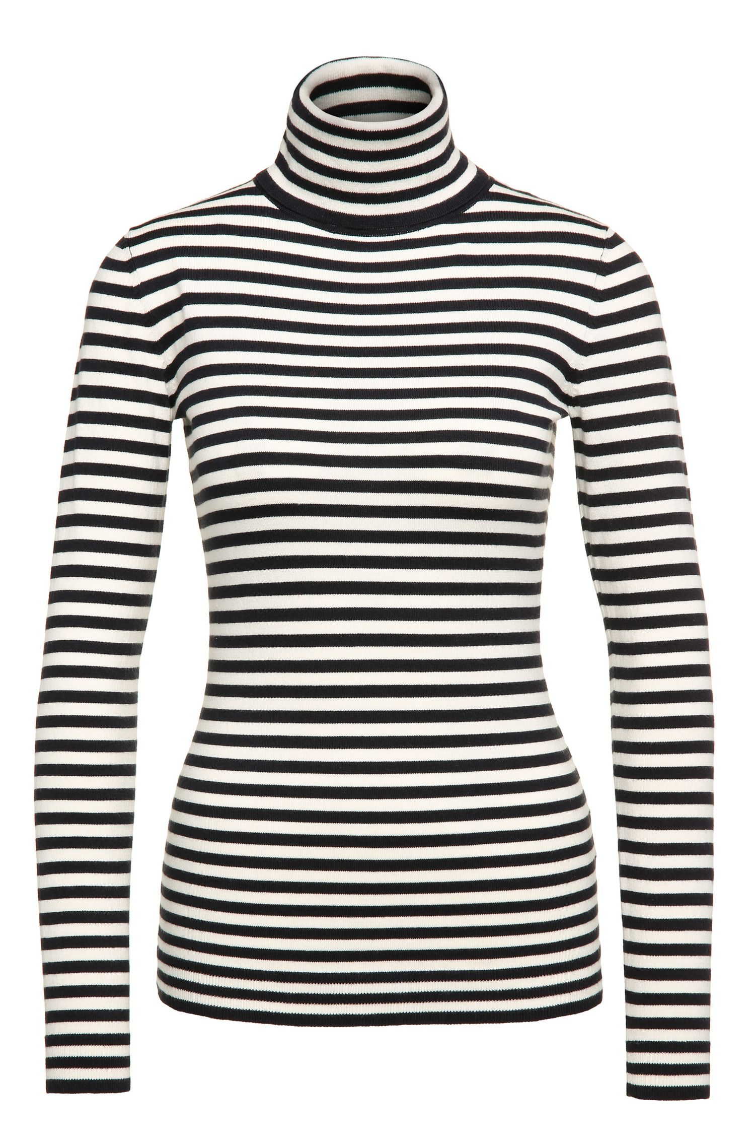 Jersey de cuello alto slim fit en mezcla de algodón elástico con viscosa y seda: 'Ismilla'