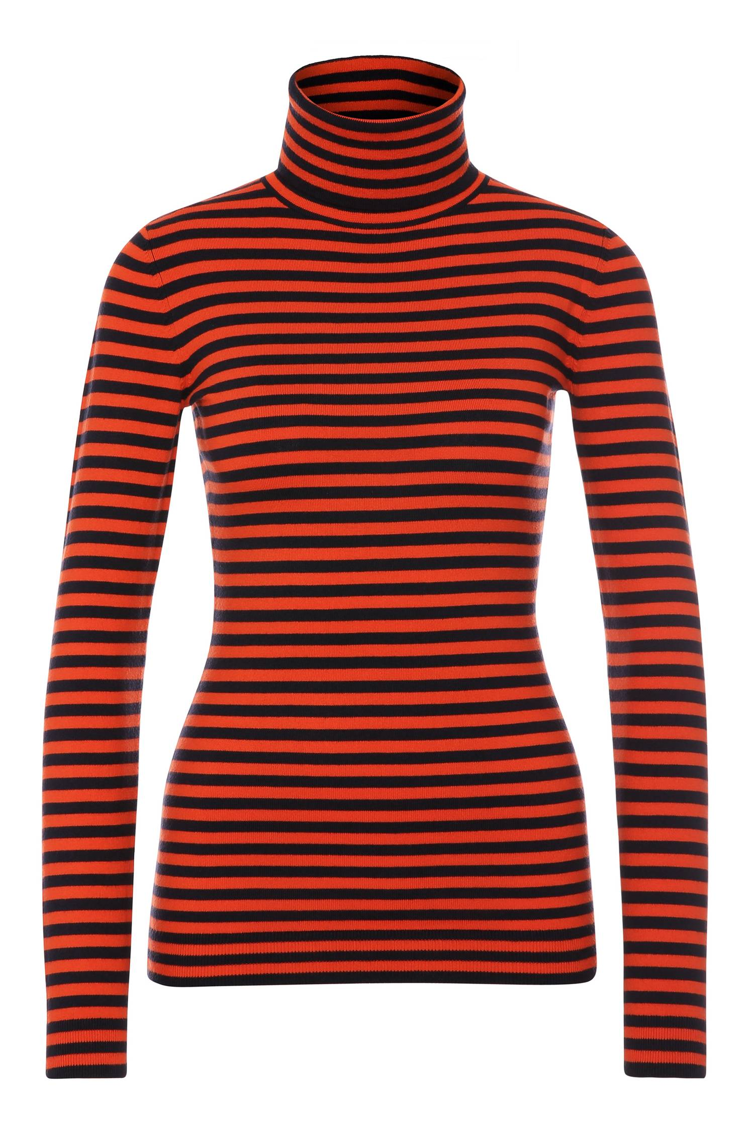 Slimfit polo neck sweater in stretch cotton blend with viscose and silk `Ismilla`