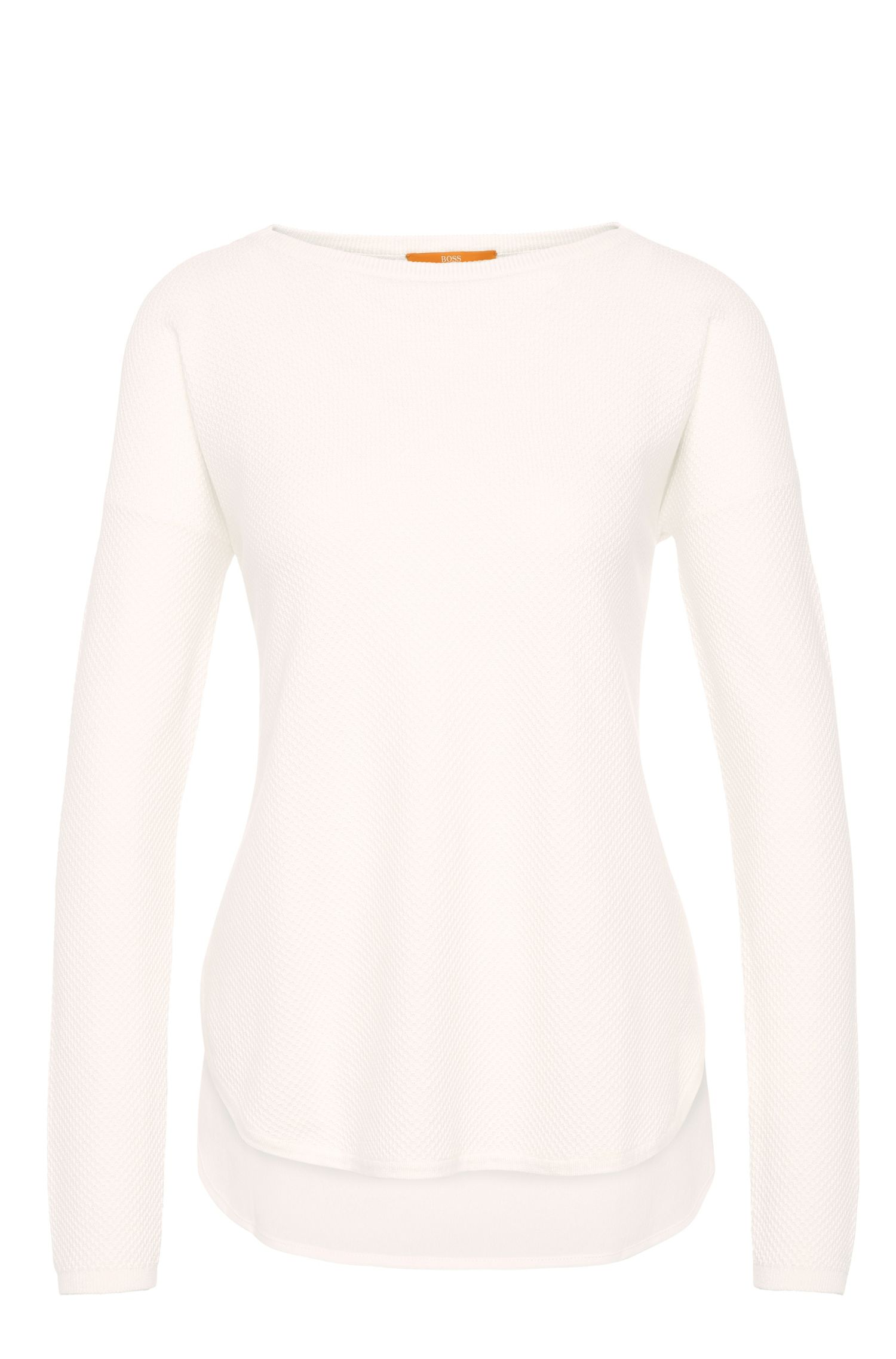 Relaxed-fit sweater in cotton blend with viscose and silk: 'Ismina'