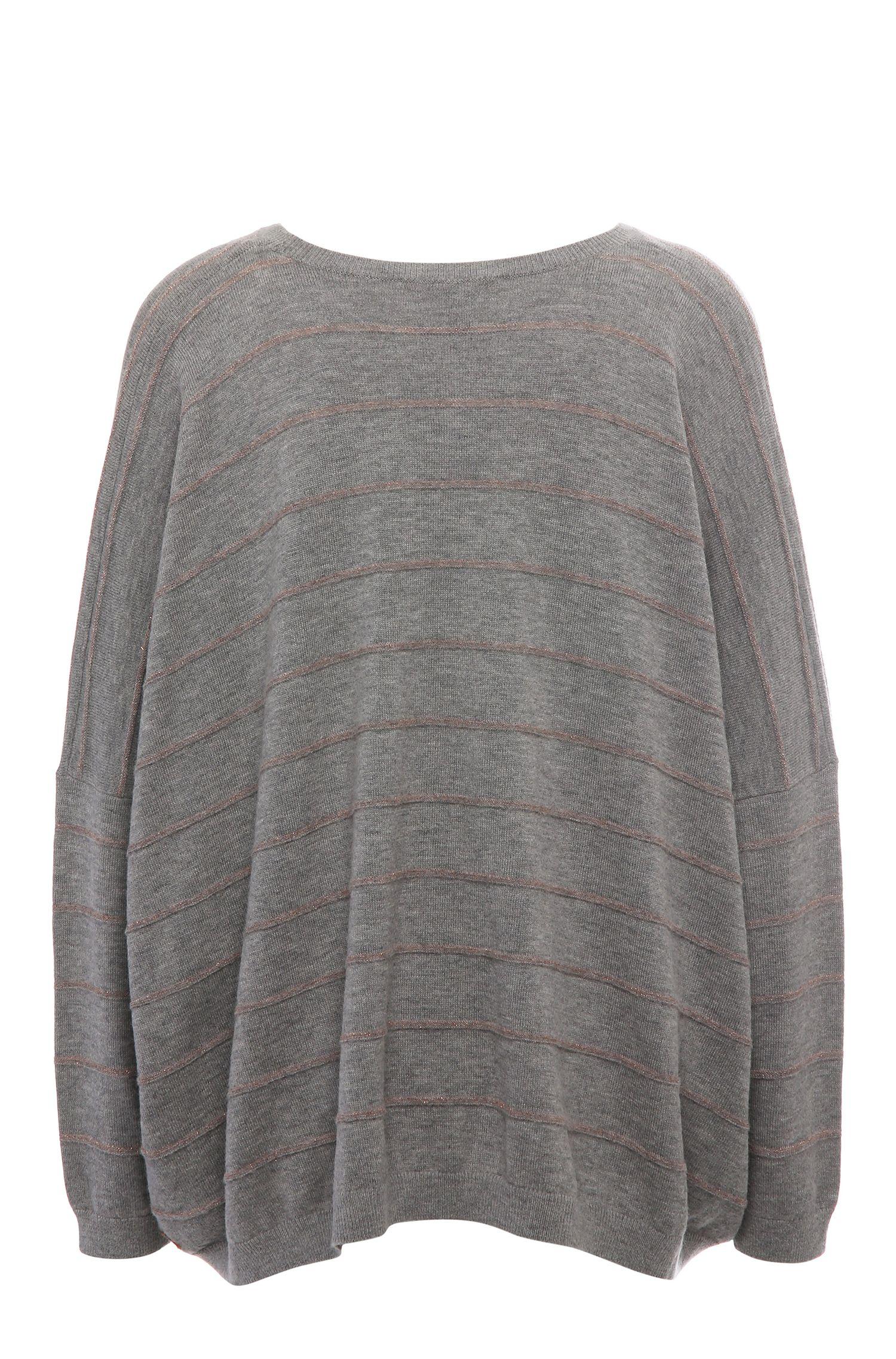 Pull Relaxed Fit à rayures en mélange de matières à teneur en laine vierge, alpaga et fibre métallique: «Izusal»