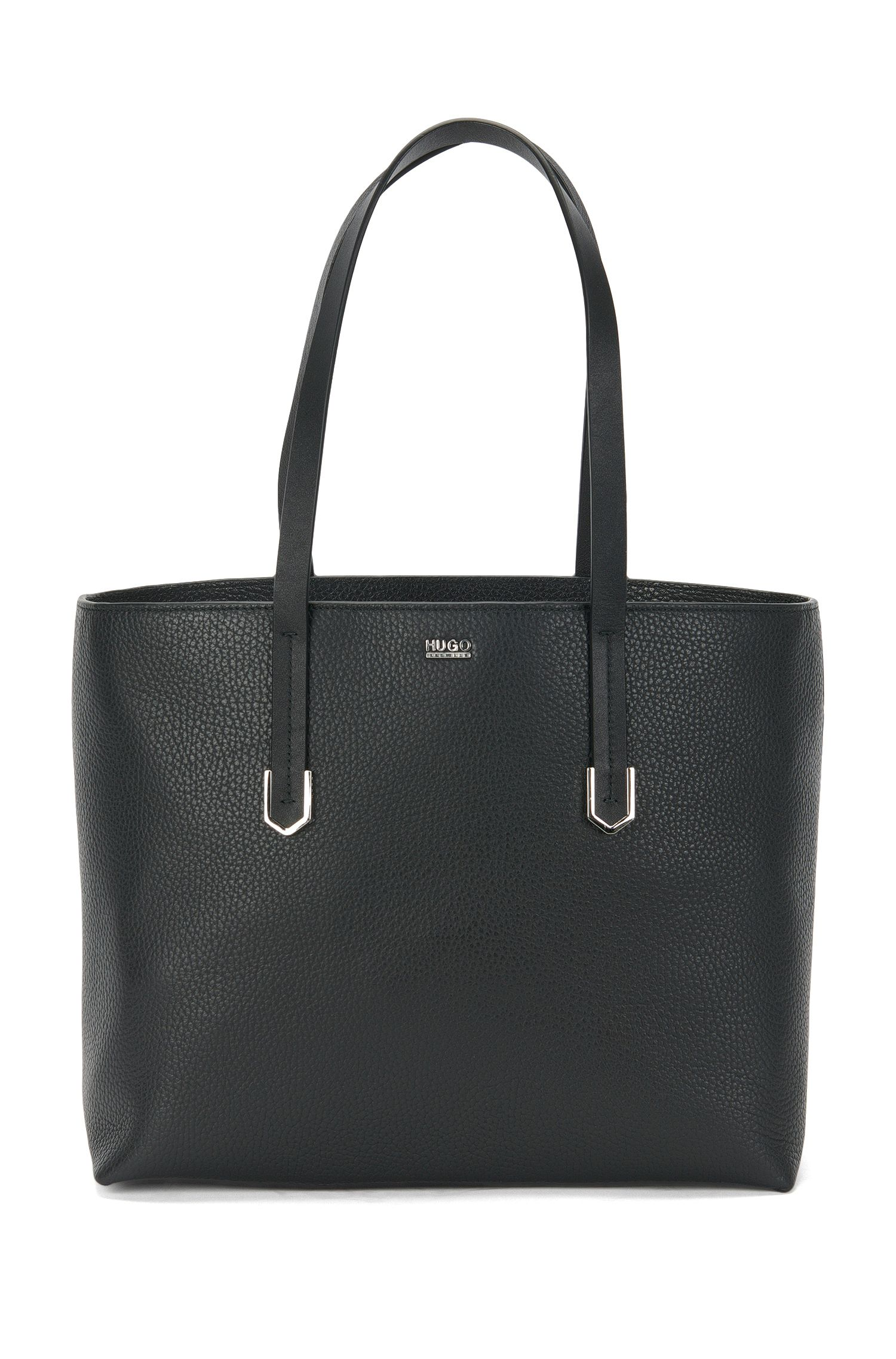 Leather shopper with the main compartment divided into 2: 'Nives-R'