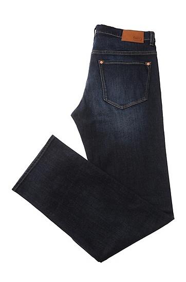 Verwaschene Regular-Fit Jeans aus elastischer Baumwolle: ´C-KANSAS`, Dunkelblau