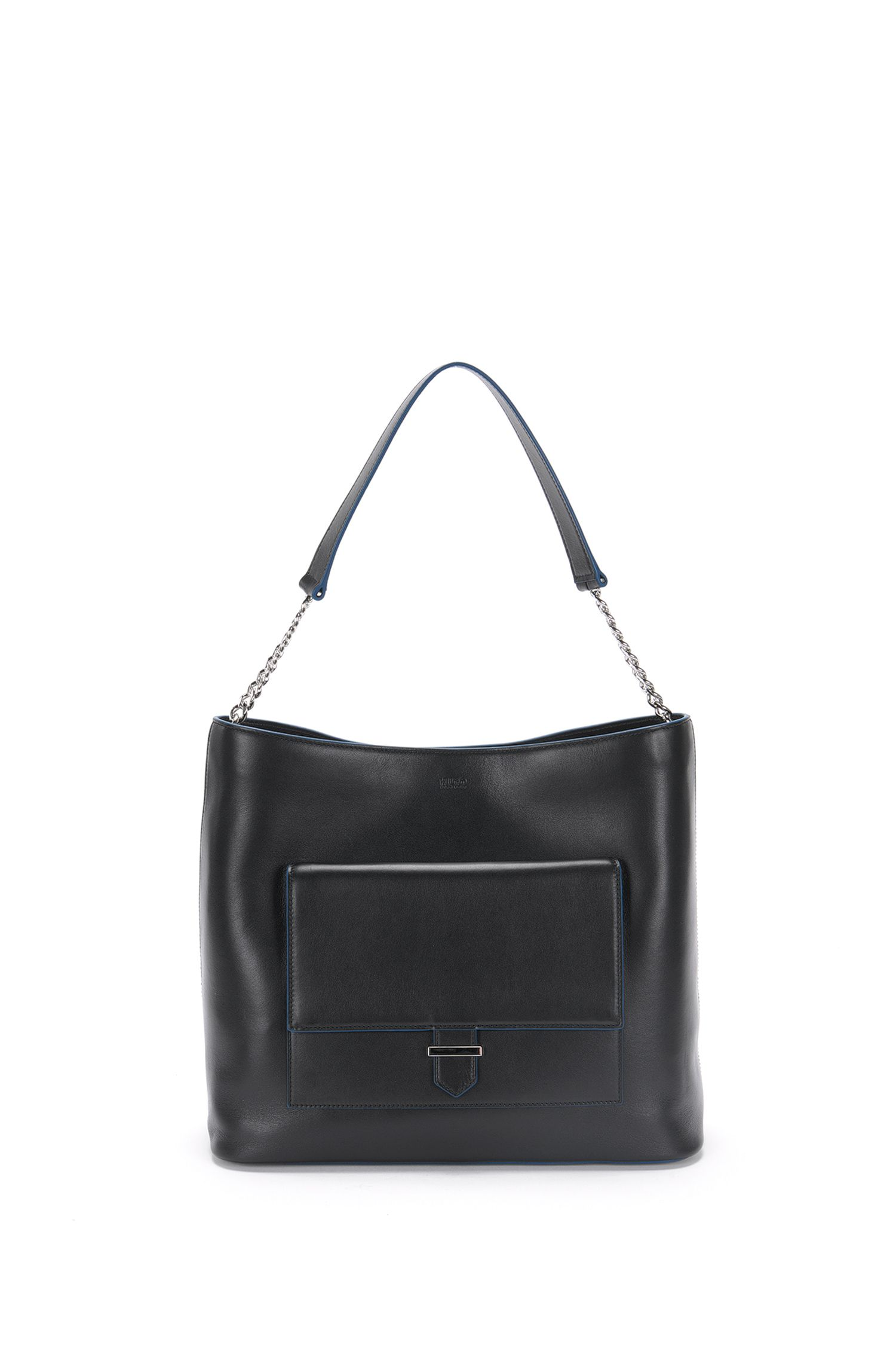 Leather hobo bag with patch pockets on the front: 'Philippa-M'